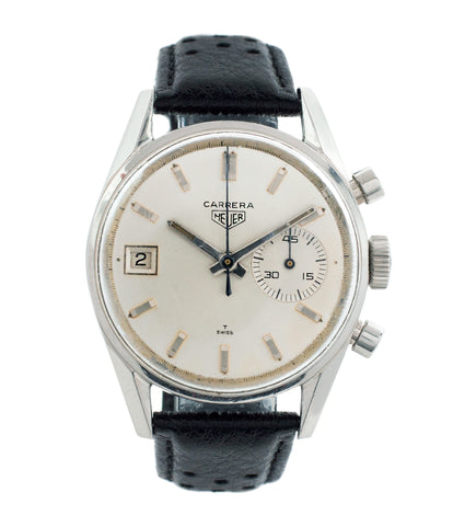 buy vintage Heuer Carrera 45 Dato 3147 steel chronograph watch online at A Collected Man London vintage watch specialist
