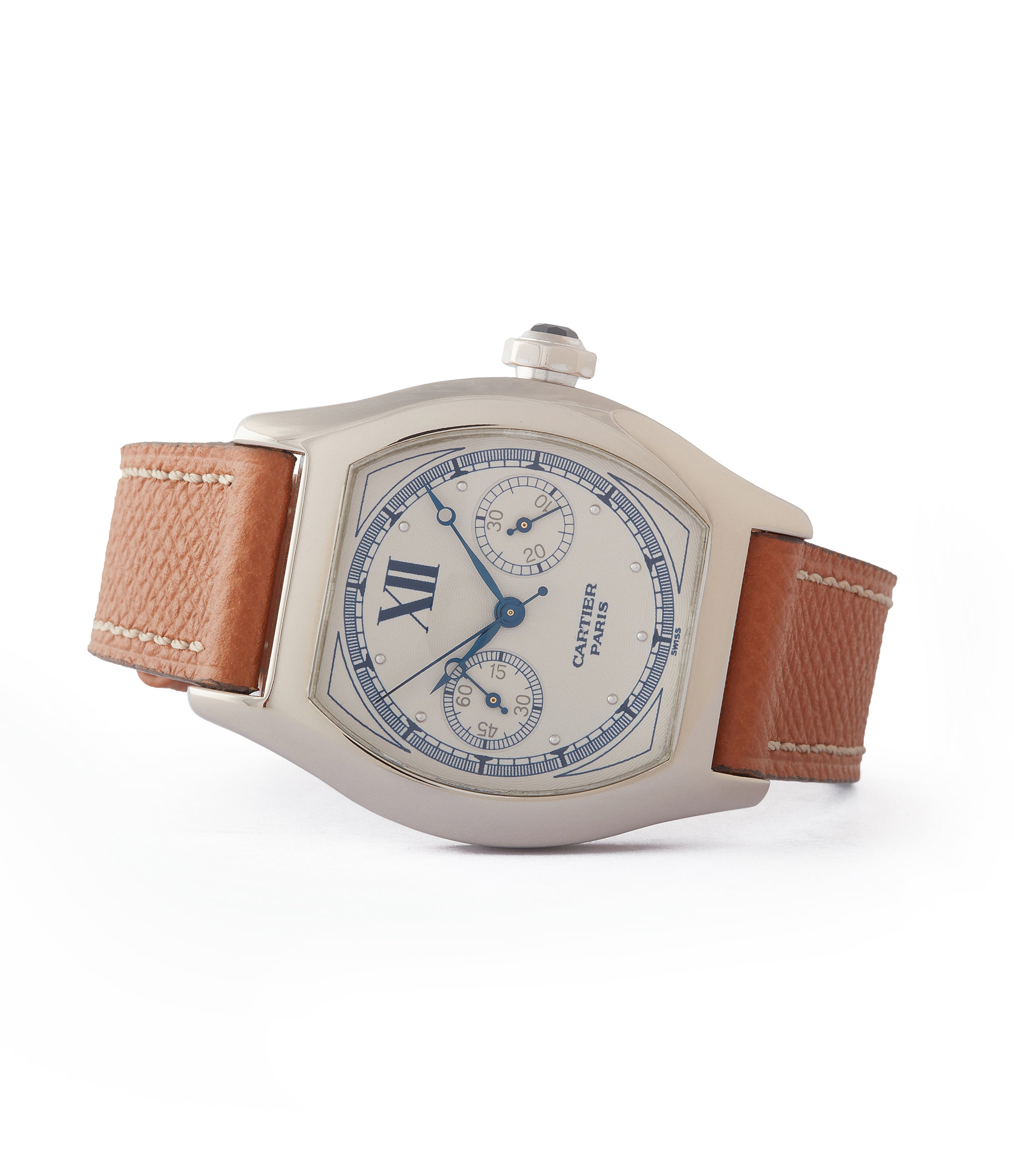 buy rare Cartier Monopusher 2396 Cal. 045MC THA by independent watchmakers chronograph  for sale at A Collected Man London UK specialist of rare watches