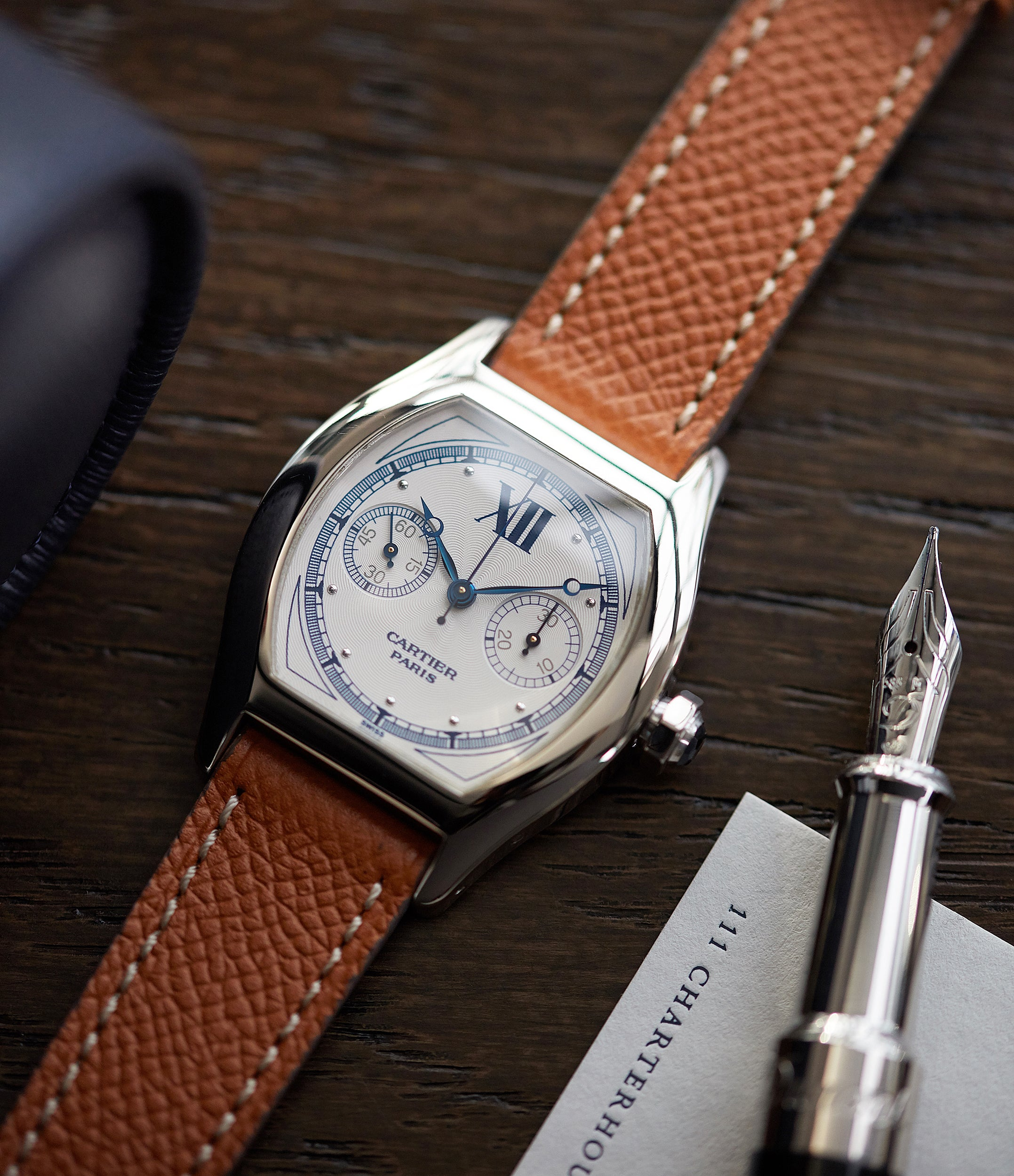 pre-owned Cartier Monopusher 2396 Cal. 045MC THA by independent watchmakers chronograph  for sale at A Collected Man London UK specialist of rare watches