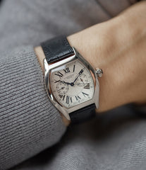 on the wrist Cartier Monopusher Monopoussoir Ref. 2714 white gold rare dress watch for sale online at A Collected Man London UK specialist of rare watches