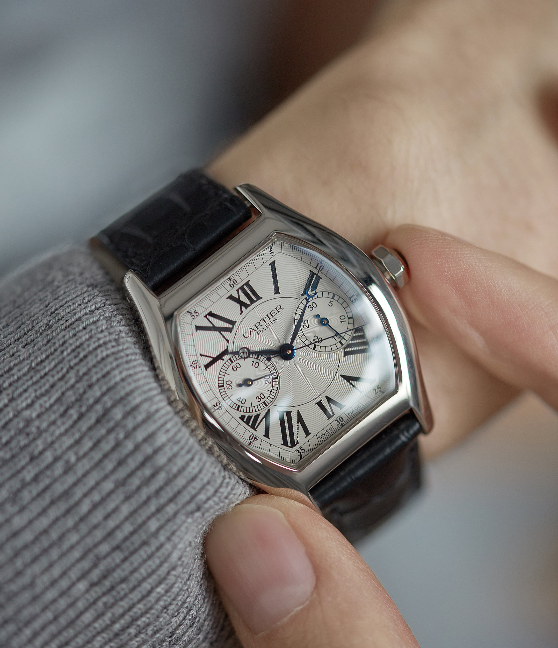 Cartier Monopusher Monopoussoir Ref. 2714 white gold rare dress watch for sale online at A Collected Man London UK specialist of rare watches