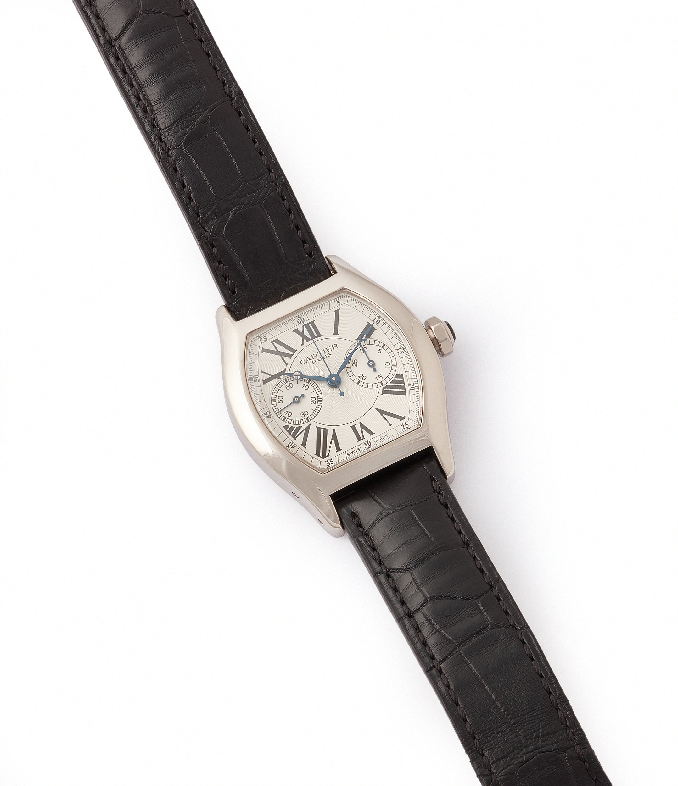 shop Cartier Monopusher Monopoussoir Ref. 2714 white gold rare dress watch for sale online at A Collected Man London UK specialist of rare watches