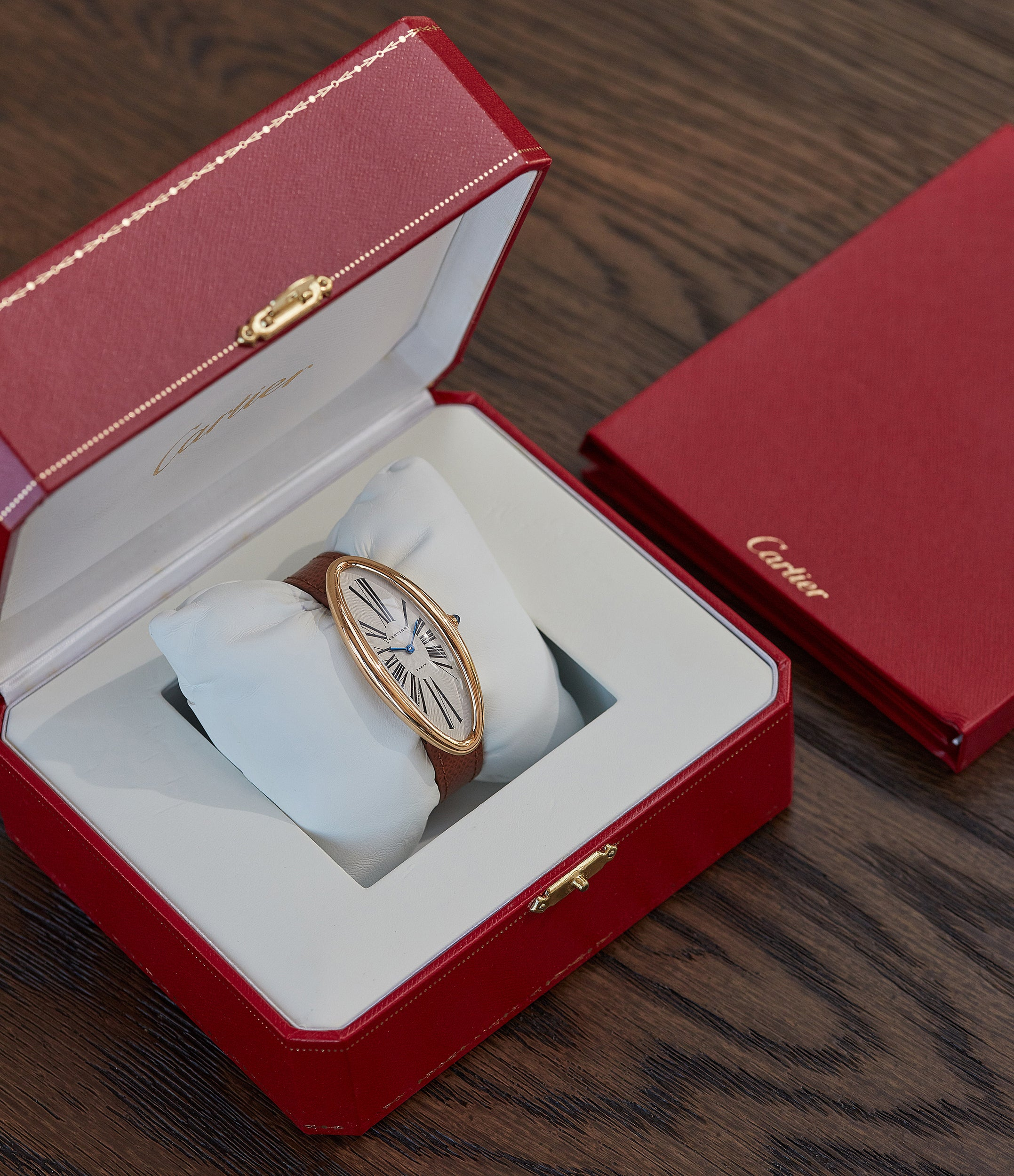 pre-owned Cartier Baignoire Allongée vintage pink gold time-only dress watch for sale online A Collected Man London British specialist of rare watches