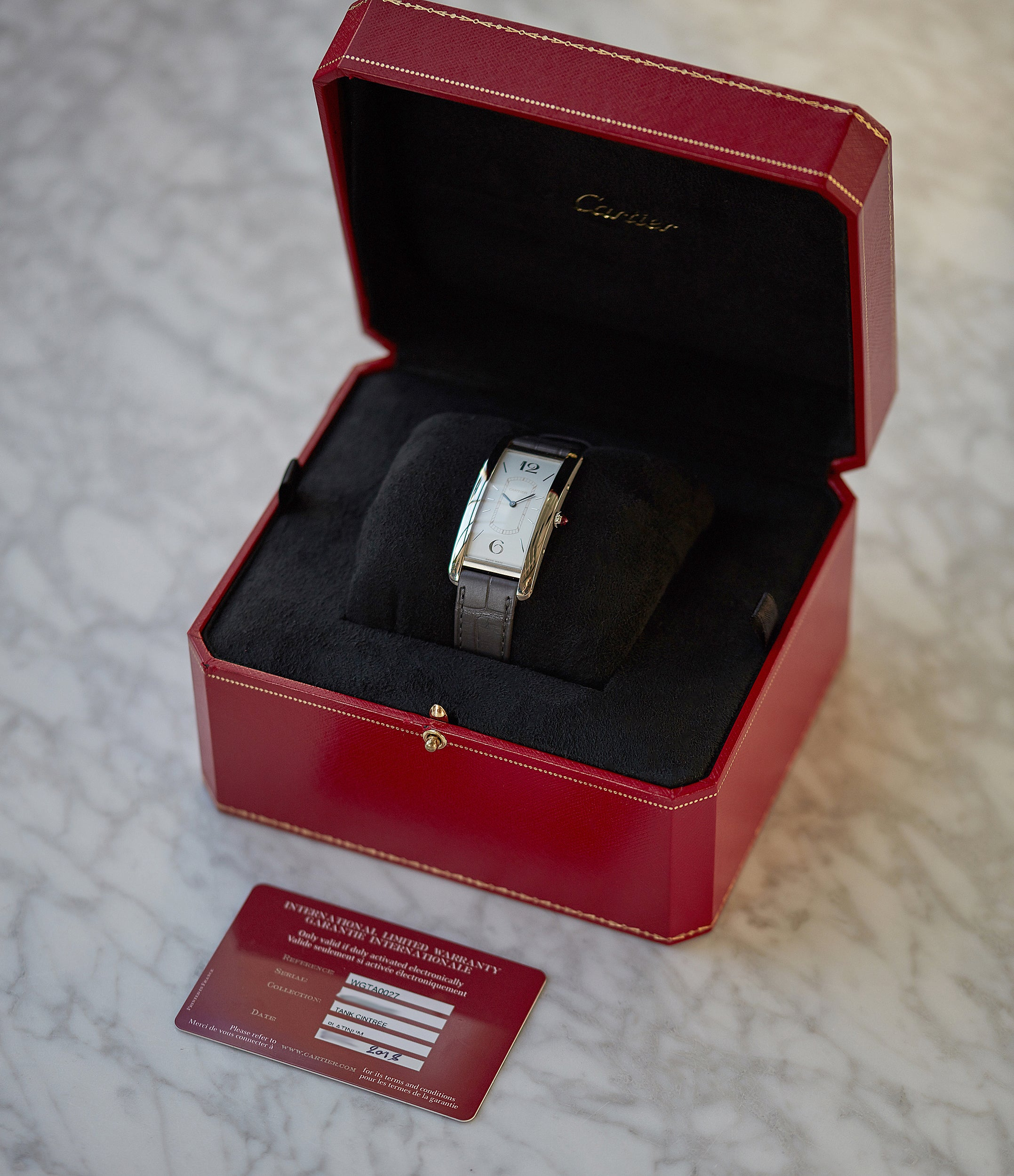 full set pre-owned Cartier Tank Cintree platinum limited edition time-only watch for sale online at A Collected Man London UK rare watch specialist