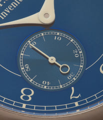 buy blue dial watch F. P. Journe Chronometre Bleu tantalum blue dial watch independent watchmaker for sale online at A Collected Man London UK specialist of rare watches