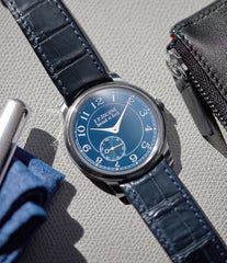 F. P. Journe Chronometre Bleu tantalum blue dial watch independent watchmaker for sale online at A Collected Man London UK specialist of rare watches