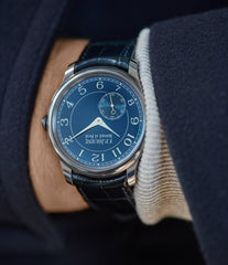 men's wristwatch F. P. Journe Chronometre Bleu tantalum blue dial watch independent watchmaker for sale online at A Collected Man London UK specialist of rare watches