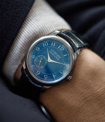 men's luxury dress watch F. P. Journe Chronometre Bleu tantalum blue dial watch independent watchmaker for sale online at A Collected Man London UK specialist of rare watches