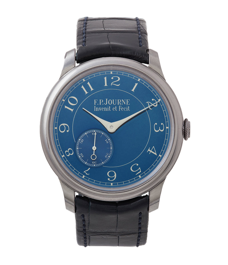 buy F. P. Journe Chronometre Bleu tantalum blue dial watch independent watchmaker for sale online at A Collected Man London UK specialist of rare watches