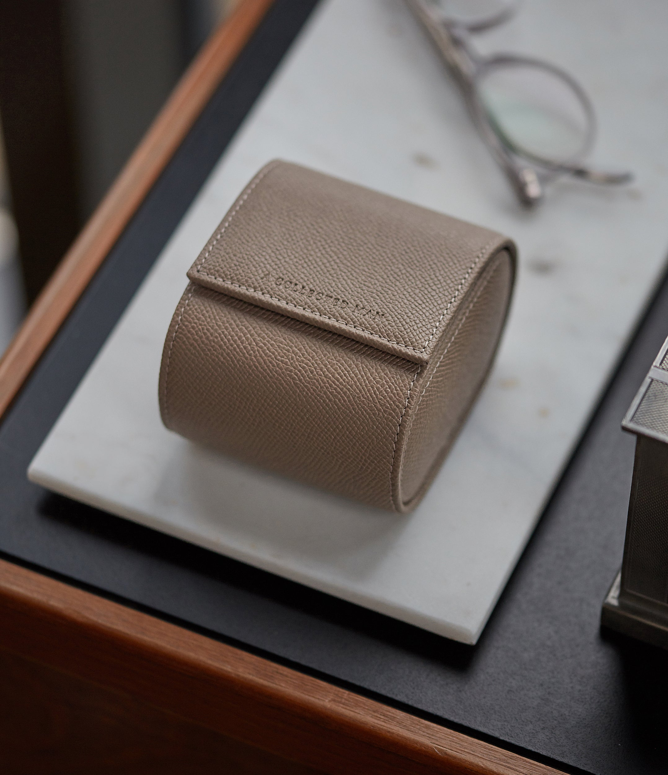 taupe beige grained leather luxury single watch holder roll for bracelet watches A Collected Man London