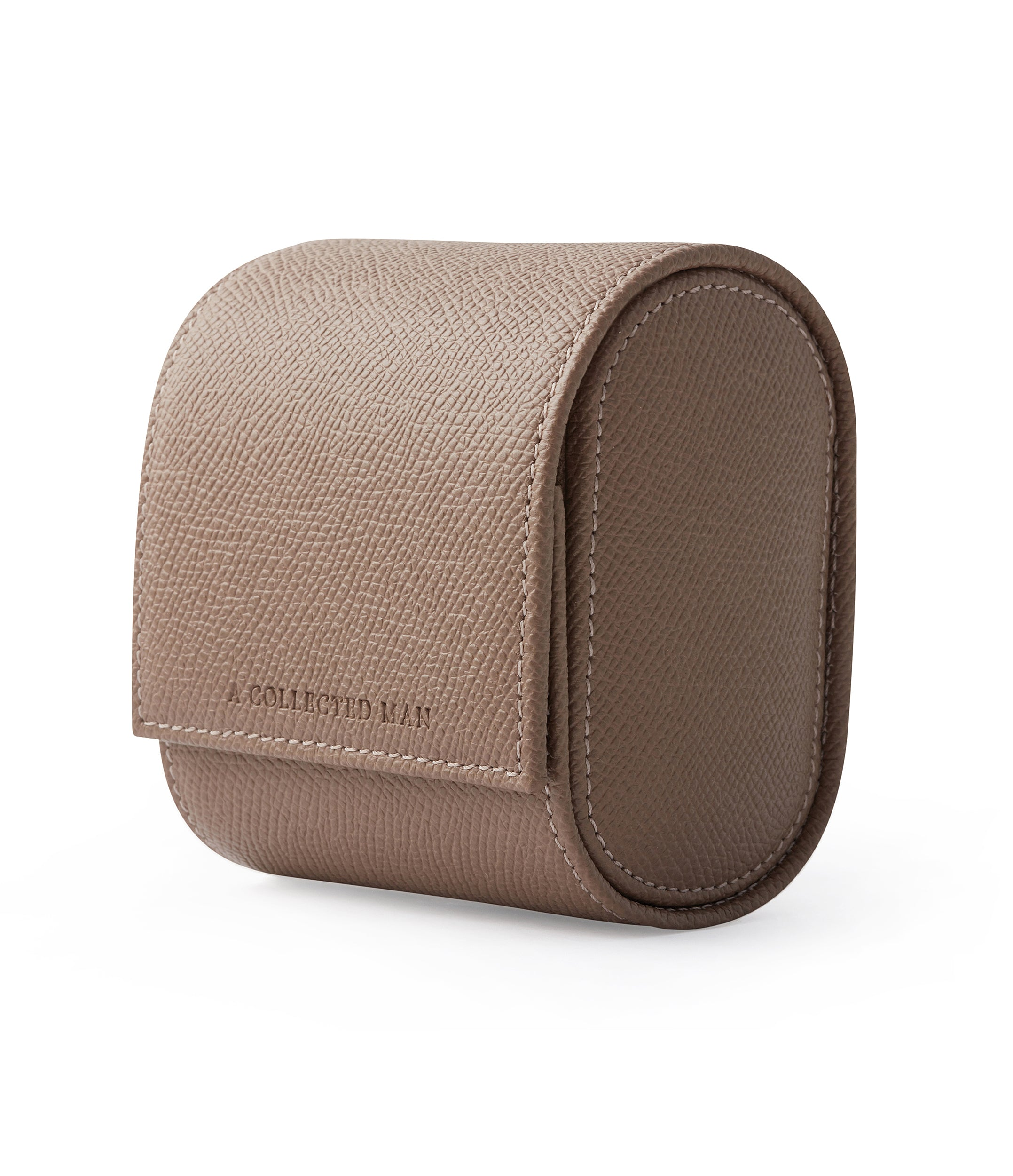 buy taupe grained leather luxury watch holder roll for bracelet watches A Collected Man London