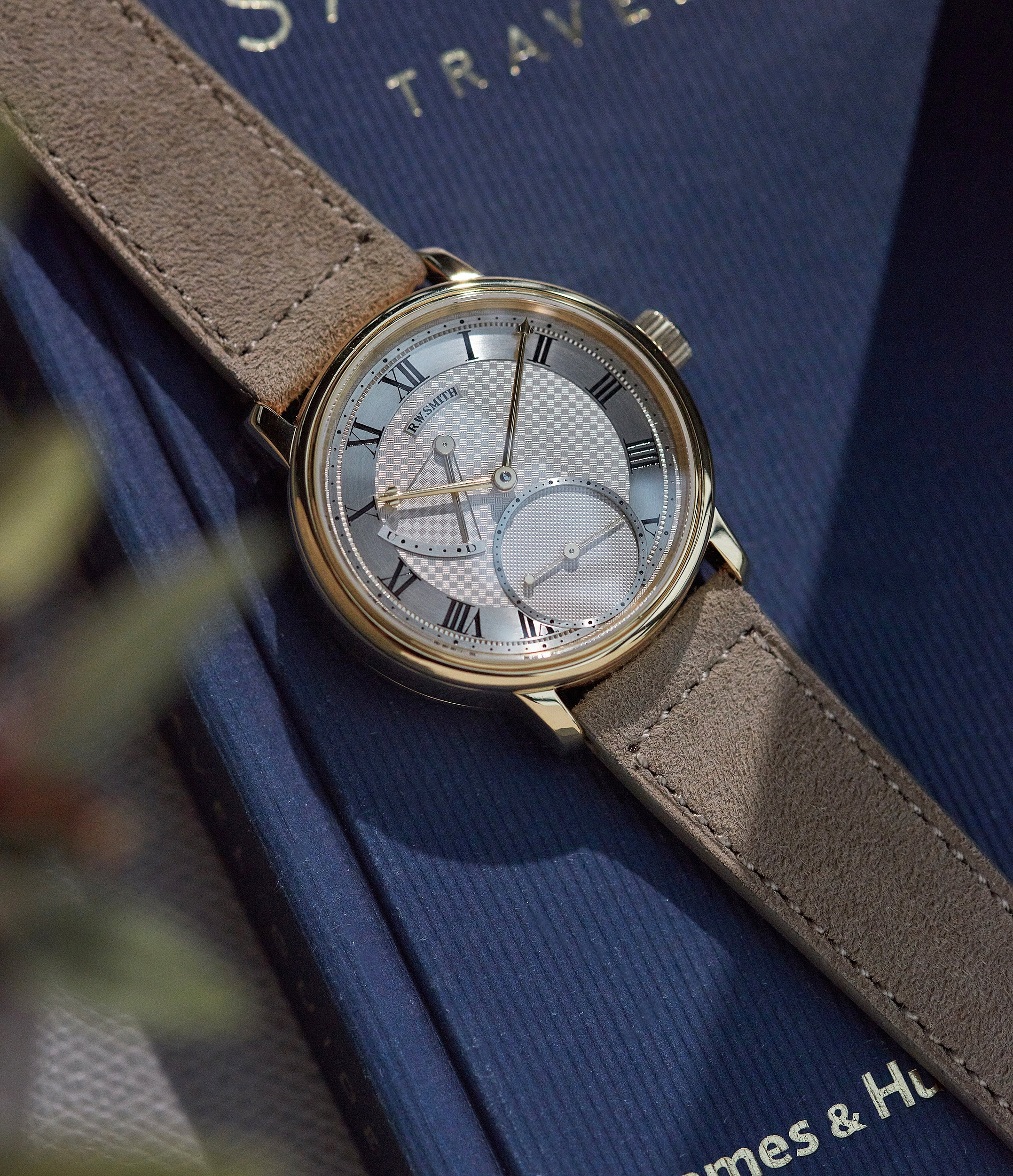 order watch strap light taupe suede boxed stitched Copenhagen watch strap buy at A Collected Man London