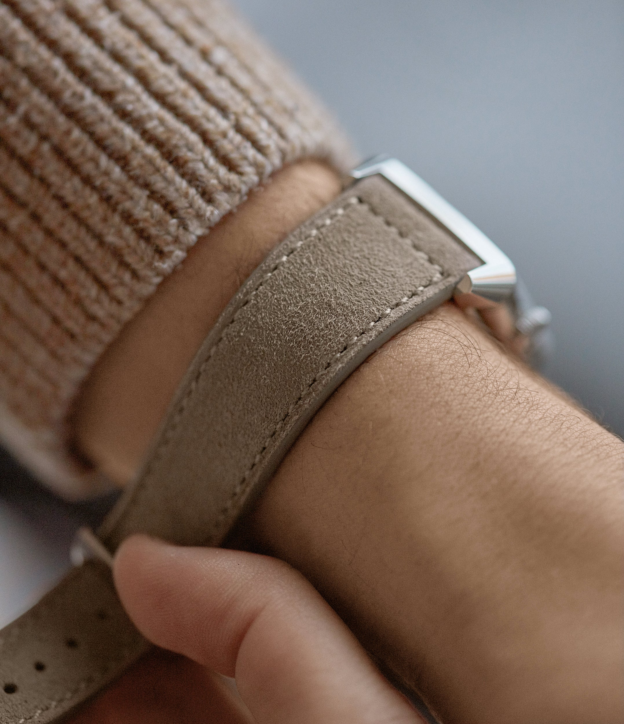 suede watch strap light taupe boxed stitched Copenhagen watch strap buy at A Collected Man London