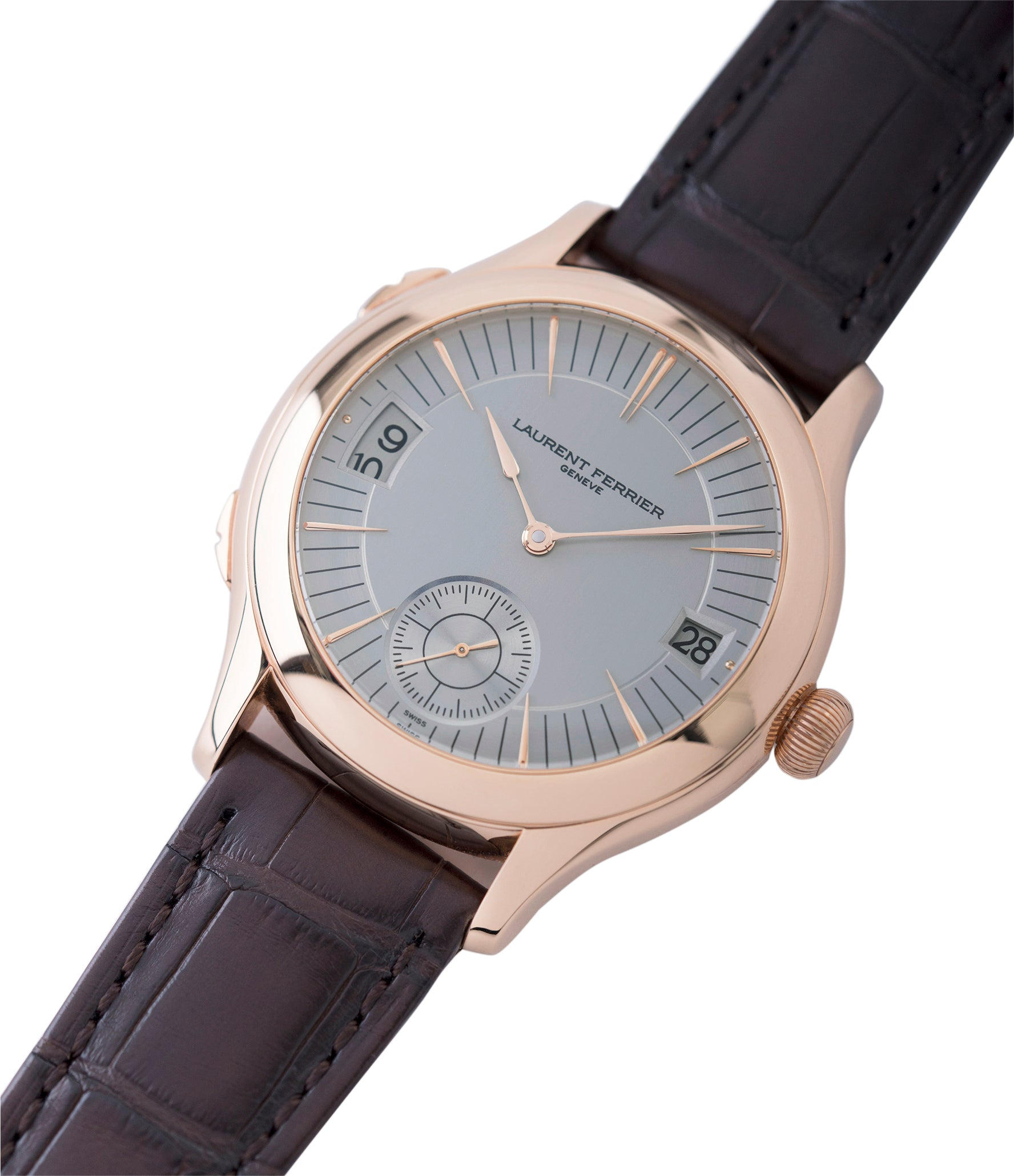 shop Laurent Ferrier Galet Traveller Micro Rotor LF 230.01 rose gold watch additional prototype dial for sale online at A Collected Man London UK approved reseller of preowned independent watchmakers