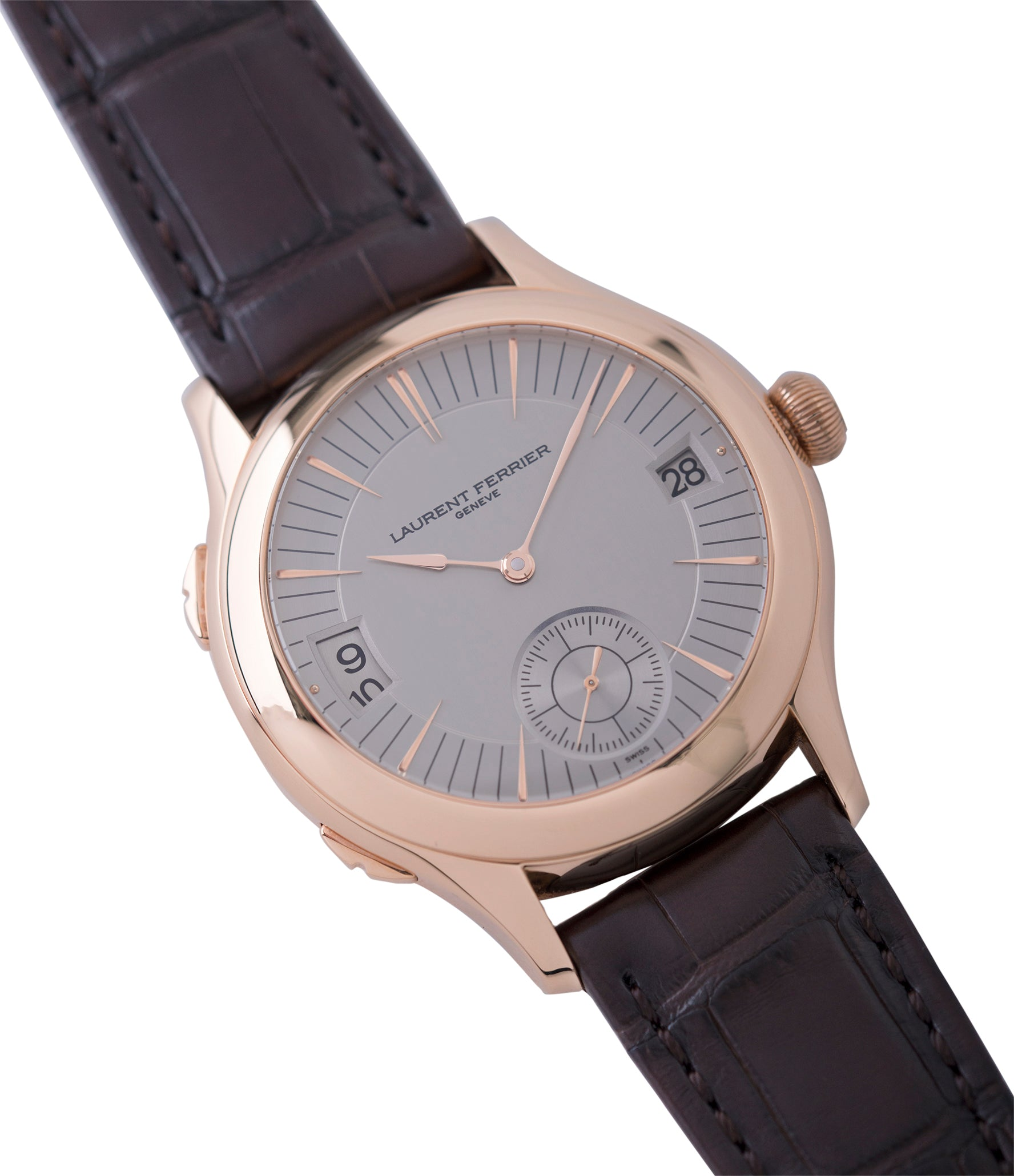 buying Laurent Ferrier Galet Traveller Micro Rotor LF 230.01 rose gold watch additional prototype dial for sale online at A Collected Man London UK approved reseller of preowned independent watchmakers