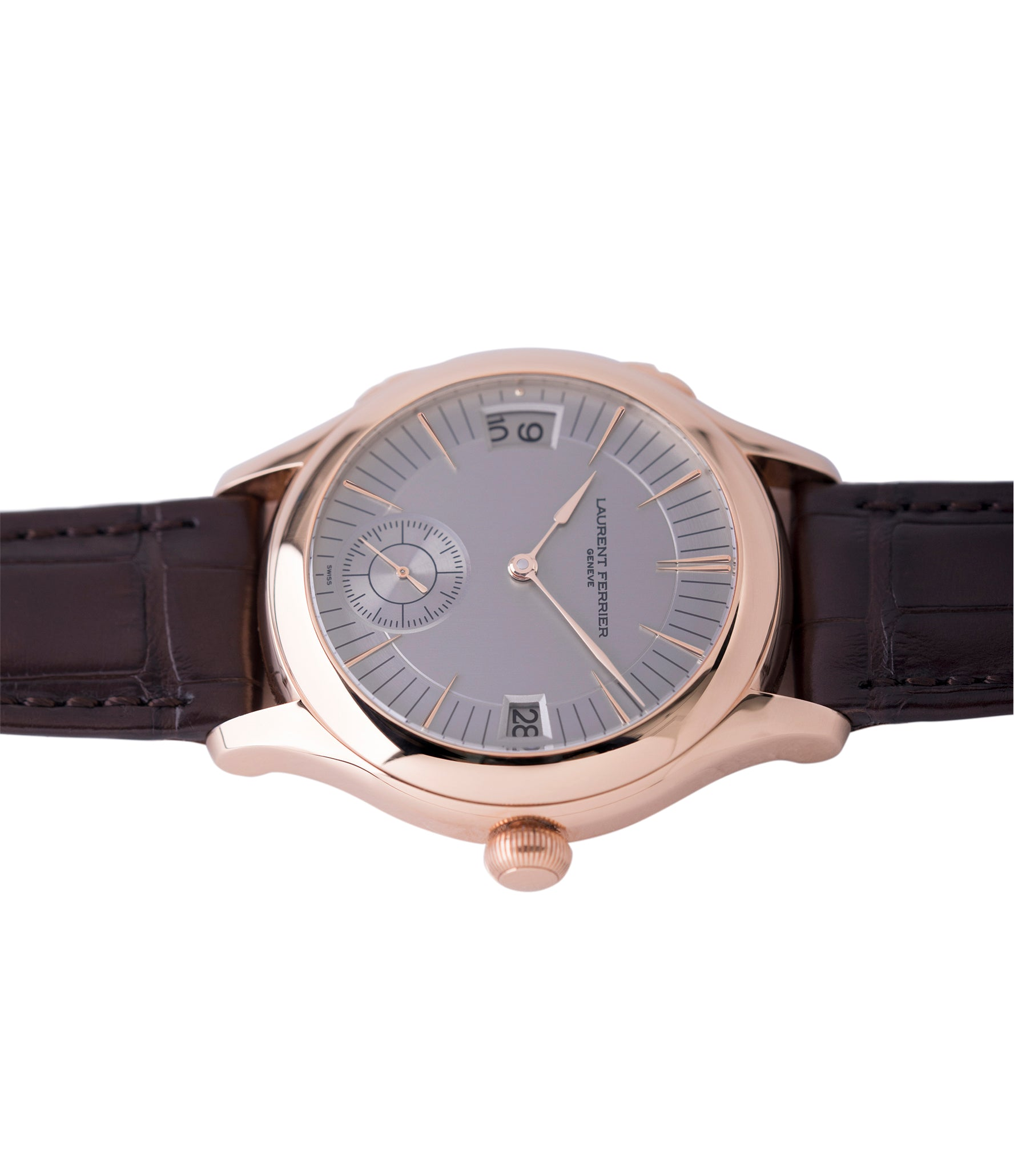 LF 230.02 Laurent Ferrier Galet Traveller Micro Rotor rose gold watch additional prototype dial for sale online at A Collected Man London UK approved reseller of preowned independent watchmakers