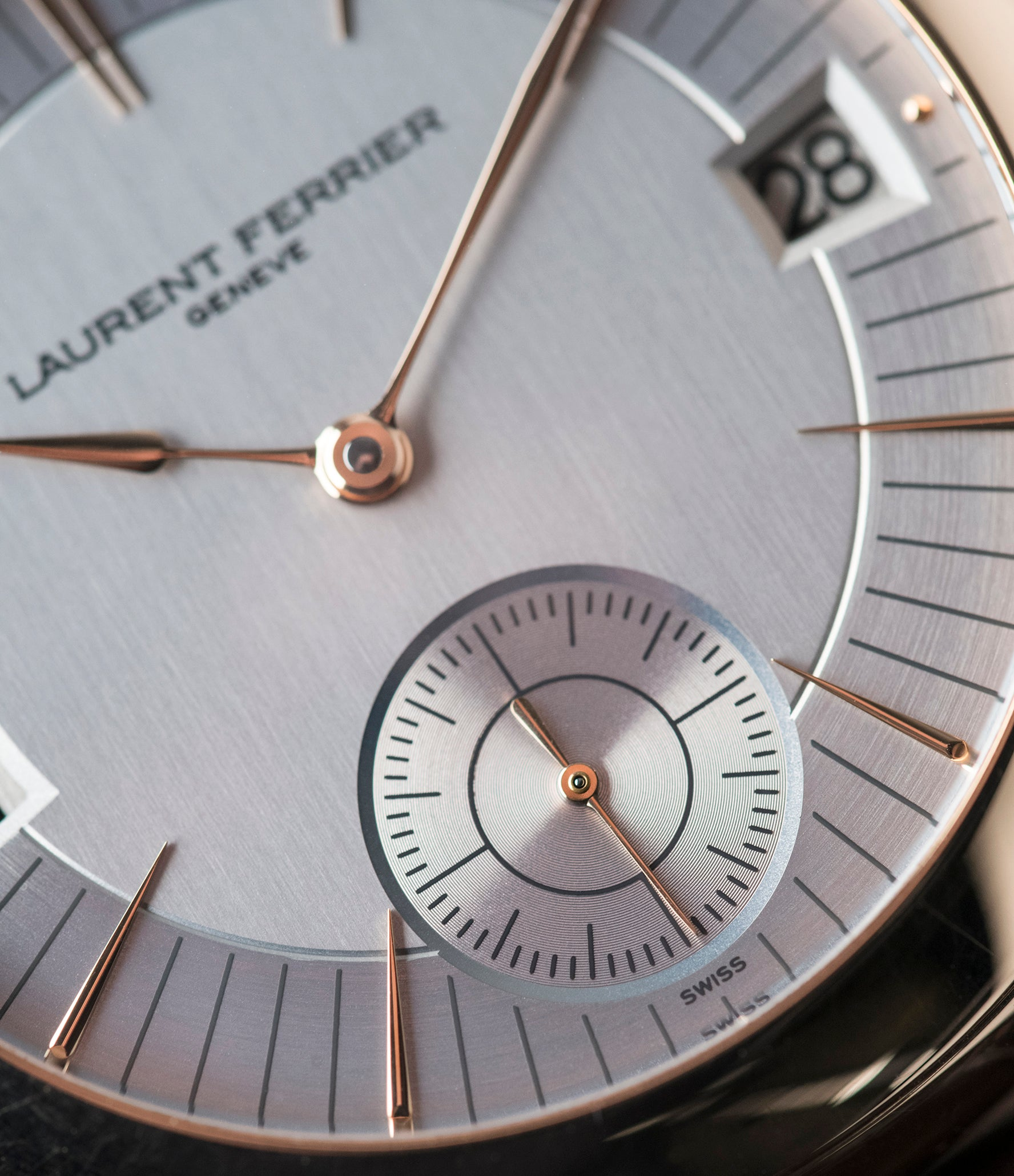 silver dial Laurent Ferrier Galet Traveller Micro Rotor LF 230.01 rose gold watch additional prototype dial for sale online at A Collected Man London UK approved reseller of preowned independent watchmakers