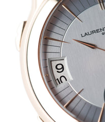 calendar Laurent Ferrier Galet Traveller Micro Rotor LF 230.01 rose gold watch additional prototype dial for sale online at A Collected Man London UK approved reseller of preowned independent watchmakers