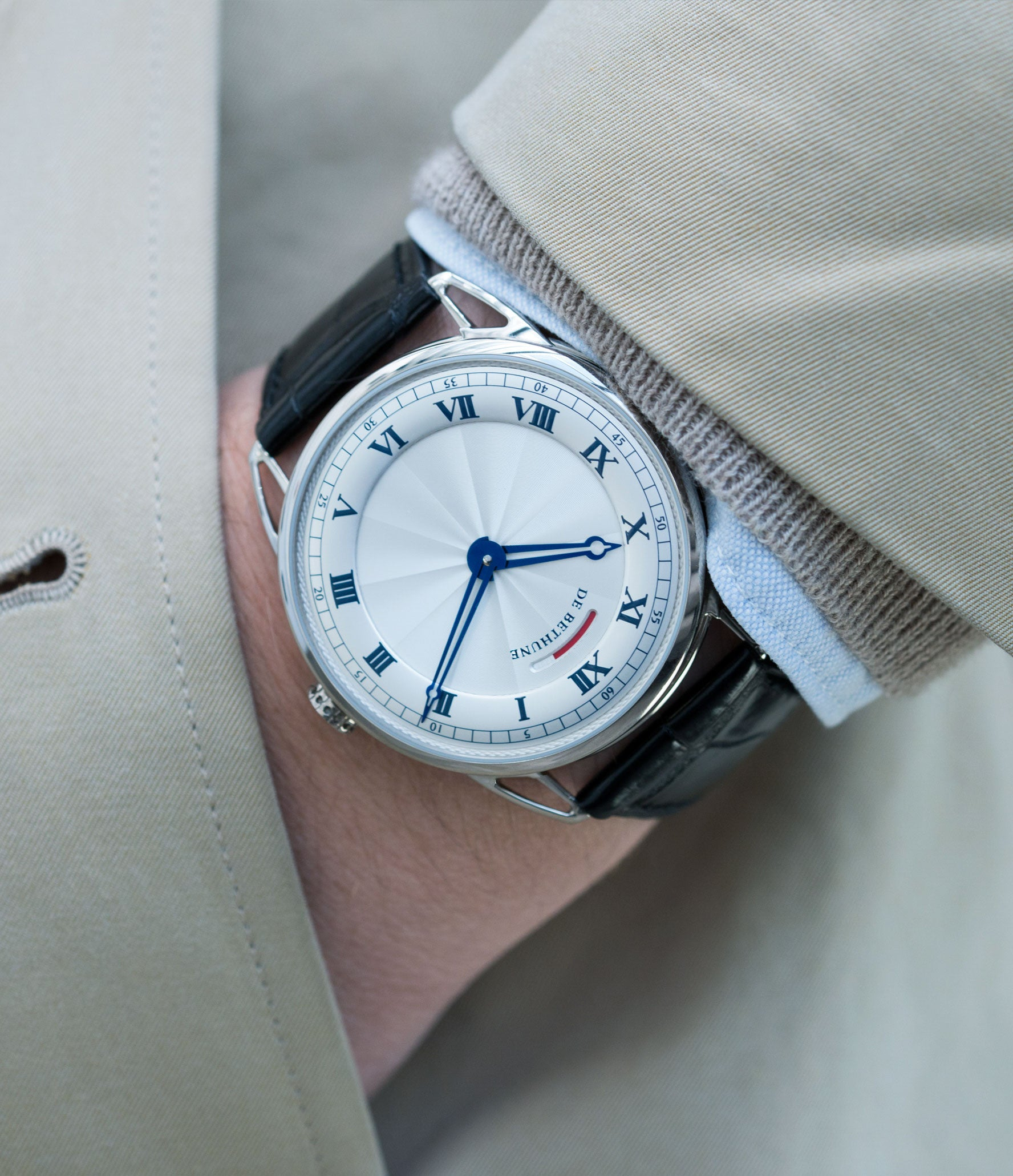 selling preowned luxury watch De Bethune DB25 white gold gentlemen's wristwatch for sale online at A Collected Man London approved reseller of independent watchmakers