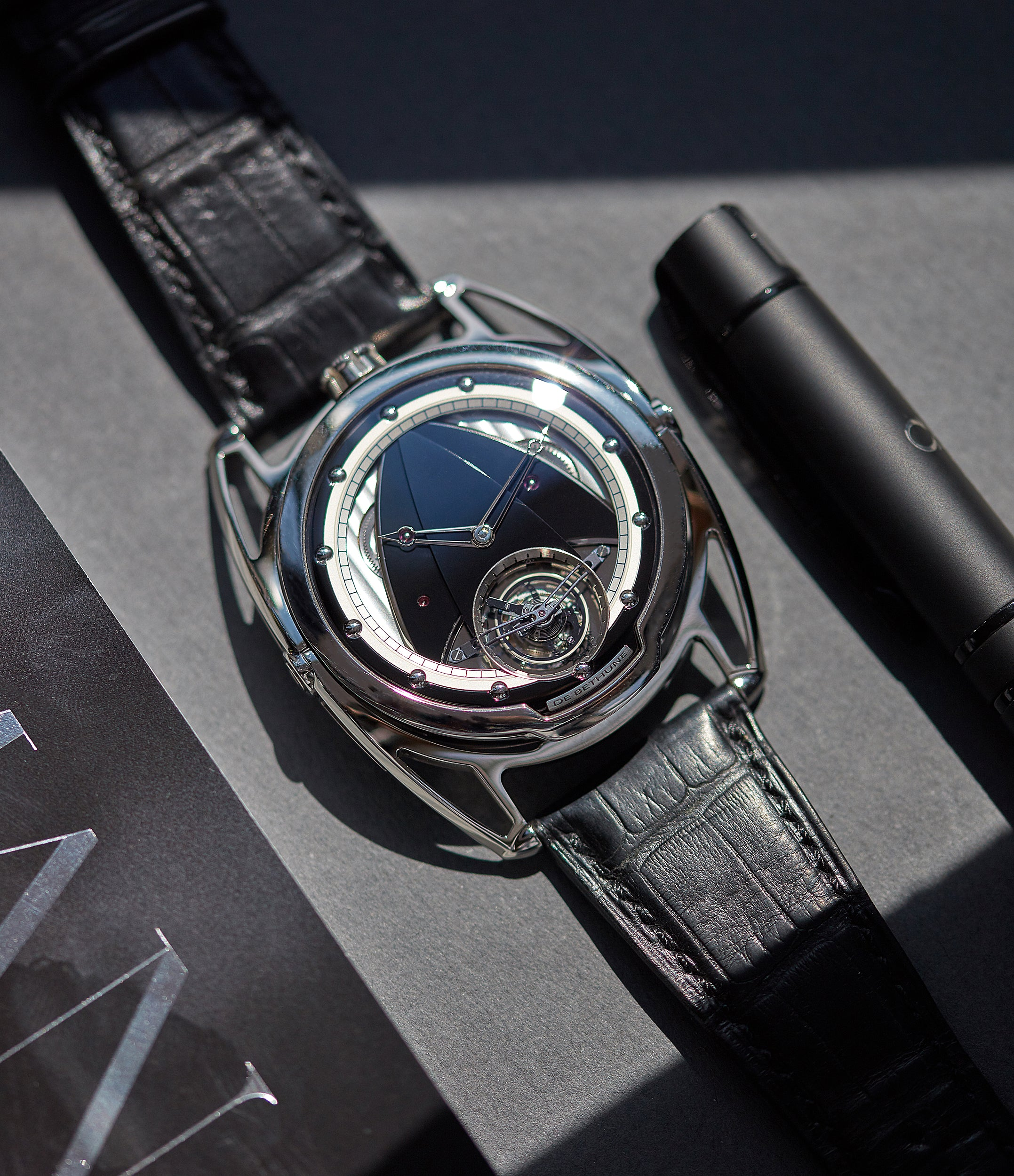 rare De Bethune DB28T tourbillon titanium time-only watch from independent watchmaker for sale online at A Collected Man London UK specialist of rare watches