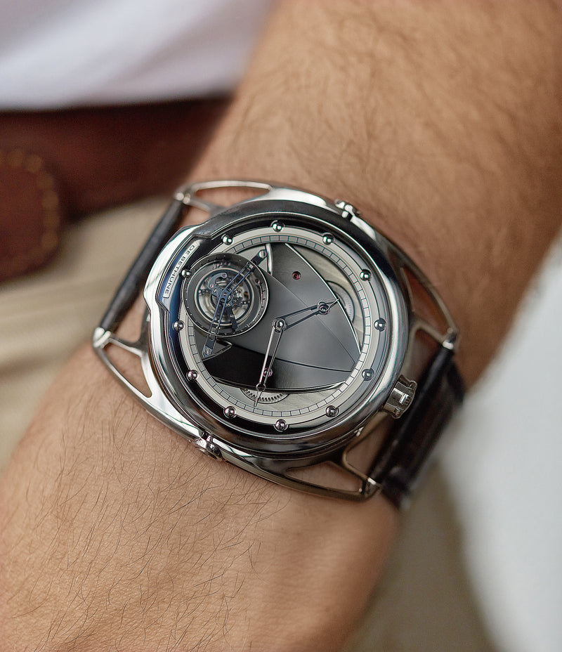 on the wrist De Bethune DB28T tourbillon titanium time-only watch from independent watchmaker for sale online at A Collected Man London UK specialist of rare watches