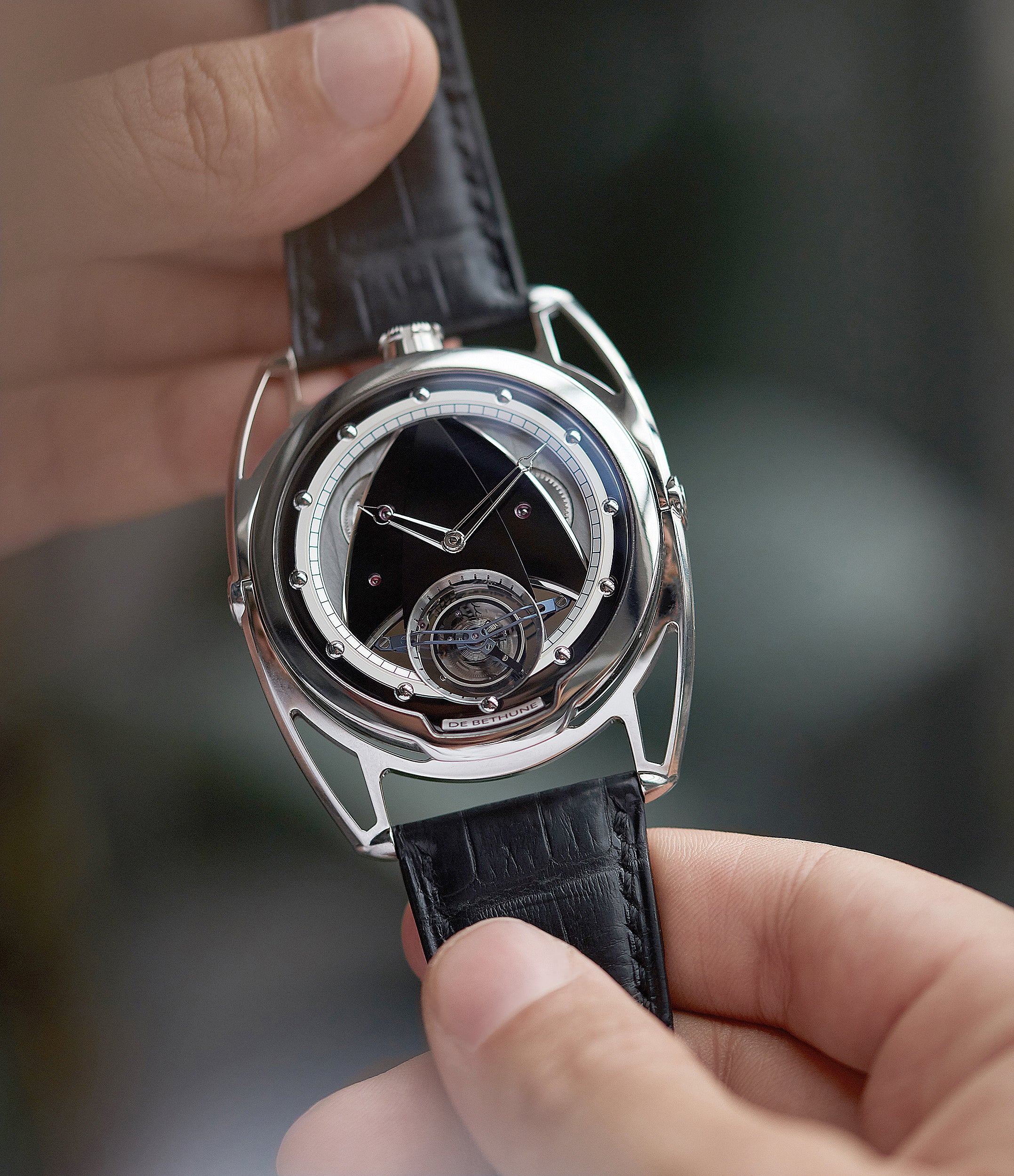 hand-on with De Bethune DB28T tourbillon titanium time-only watch from independent watchmaker for sale online at A Collected Man London UK specialist of rare watches