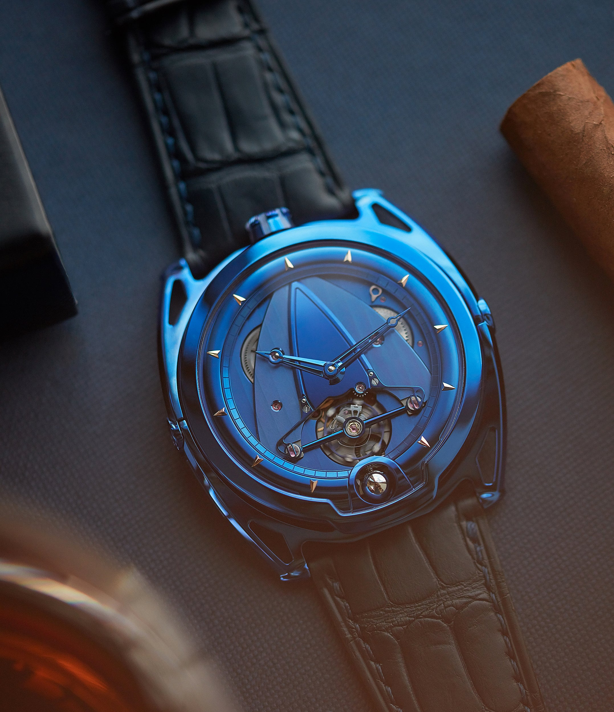 pre-owned De Bethune DB28 Kind of Blue titanium rare limited edition independent watchmaker for sale at A Collected Man London UK specilaist of rare watches