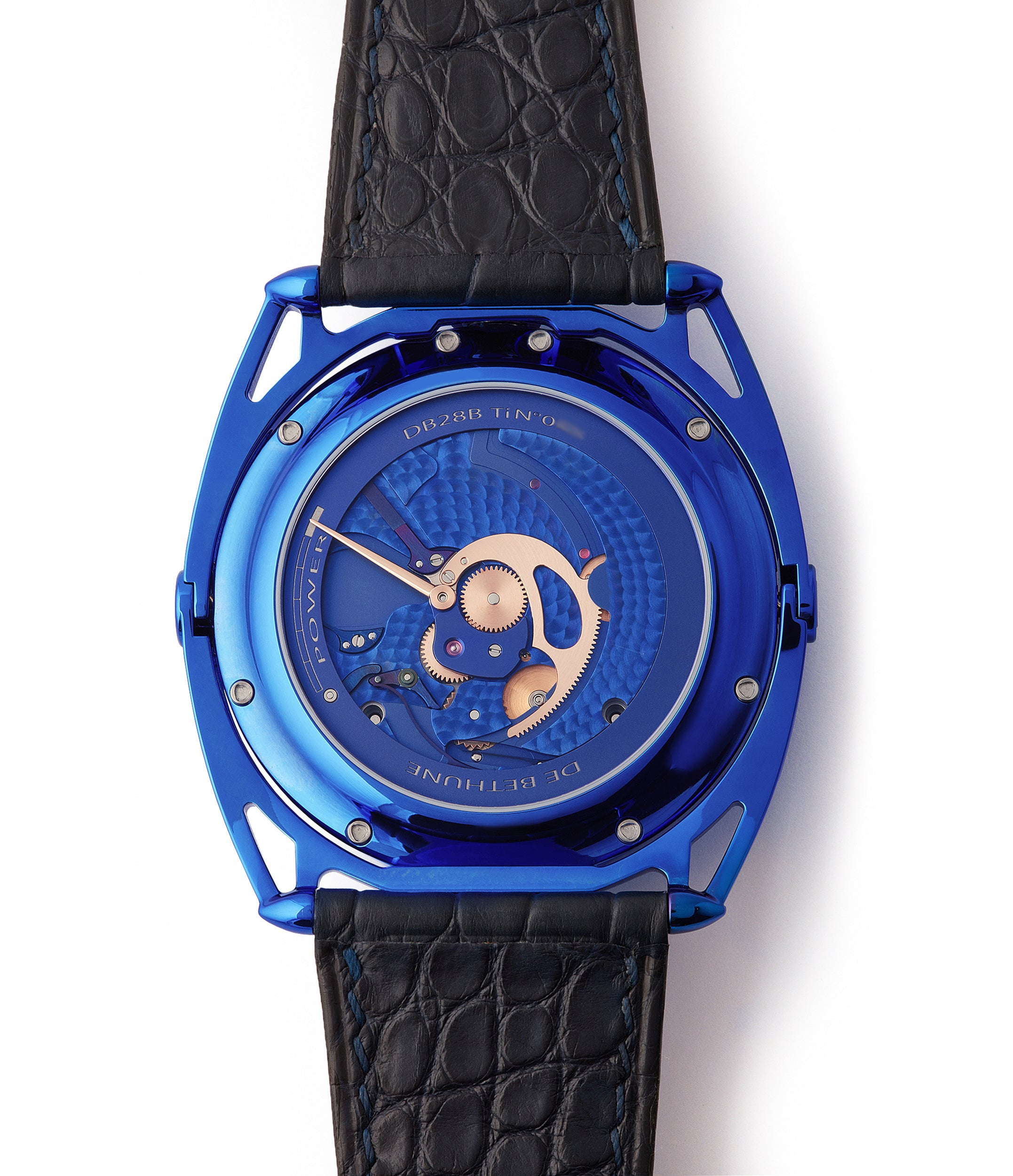blue movement watch De Bethune DB28 Kind of Blue titanium rare limited edition independent watchmaker for sale at A Collected Man London UK specilaist of rare watches