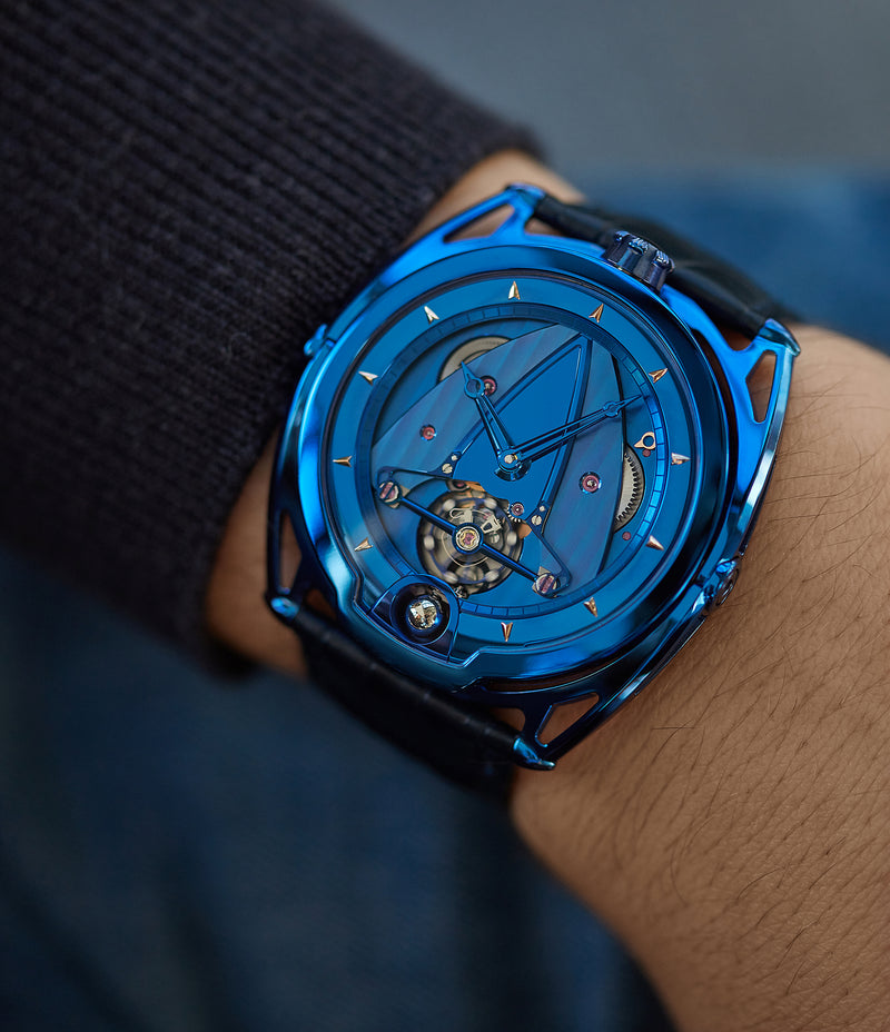 wristwatch De Bethune DB28 Kind of Blue titanium rare limited edition independent watchmaker for sale at A Collected Man London UK specilaist of rare watches
