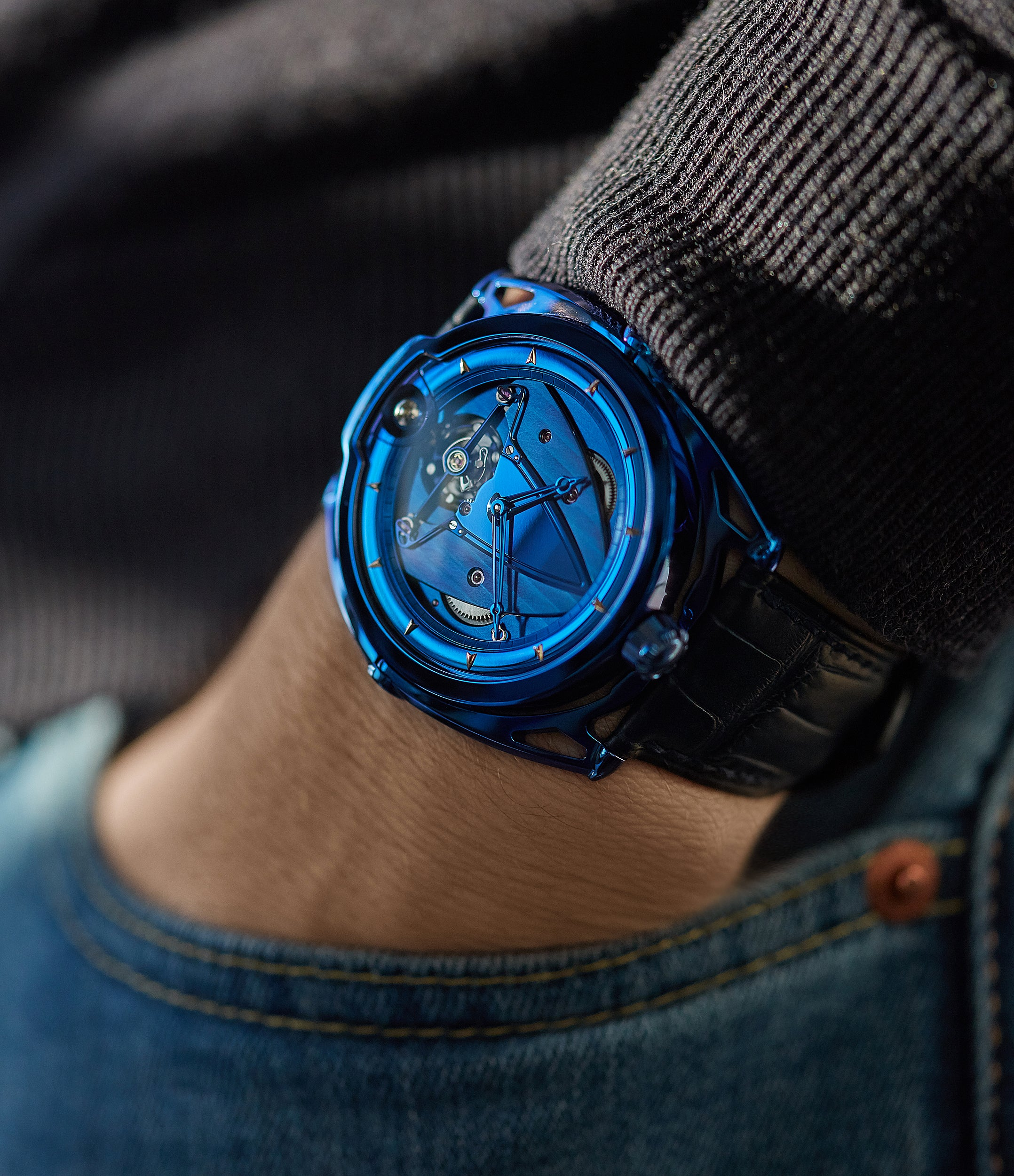 men's luxury blue watch De Bethune DB28 Kind of Blue titanium rare limited edition independent watchmaker for sale at A Collected Man London UK specilaist of rare watches