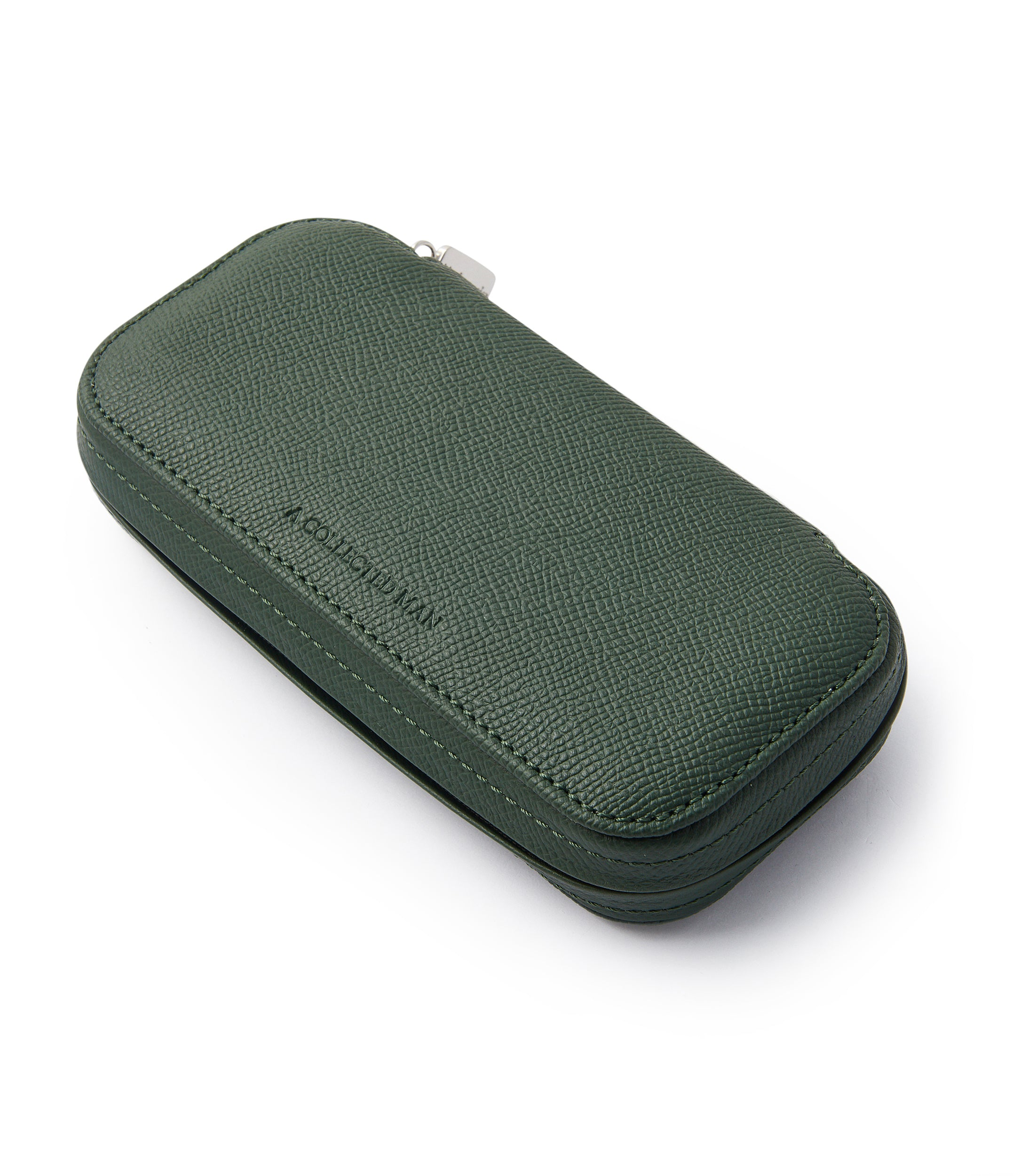 side-shot buy green grained leather luxury two-watch Dublin pouch holder A Collected Man London