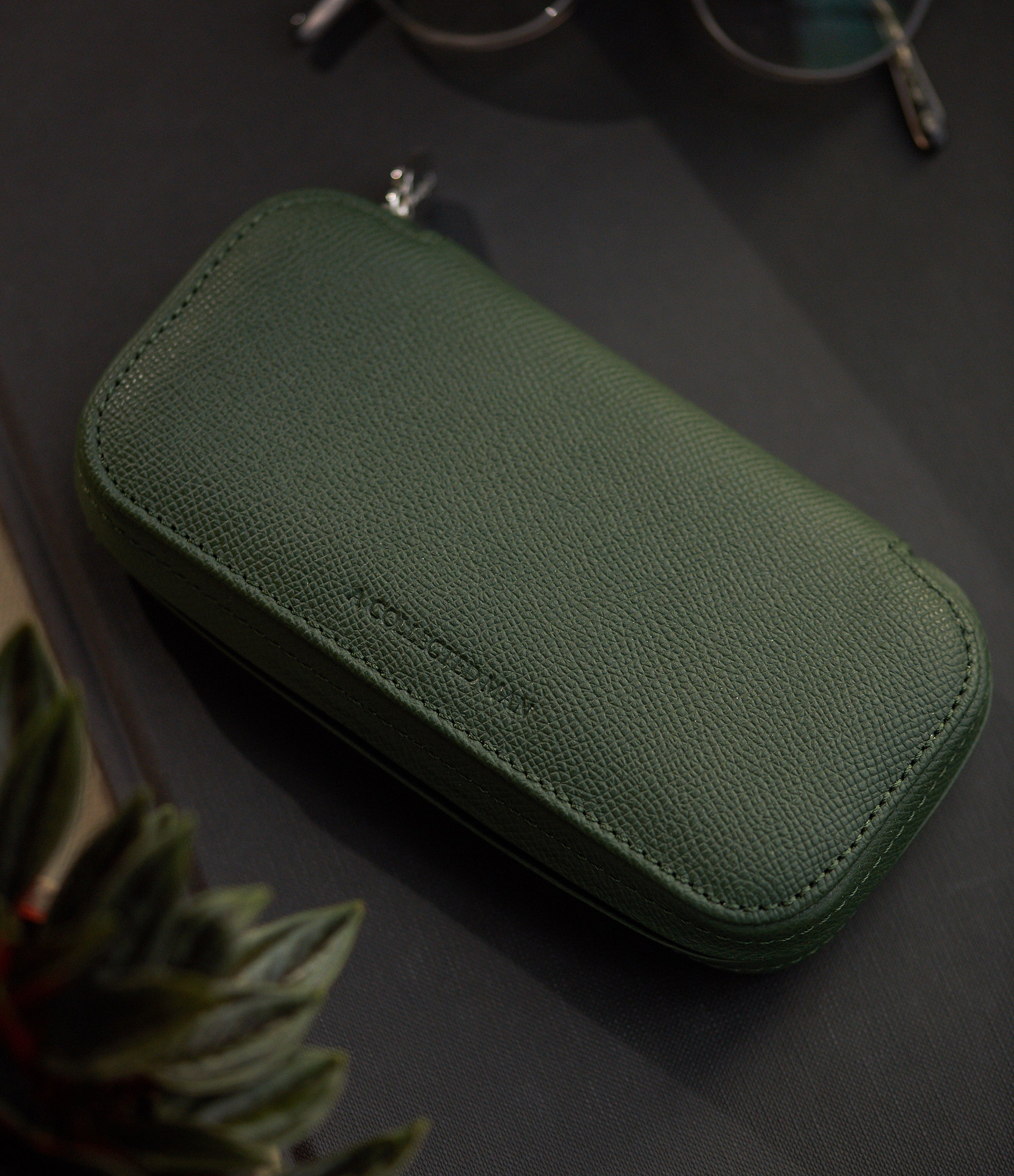 shop green grained leather luxury two-watch Dublin pouch holder A Collected Man London