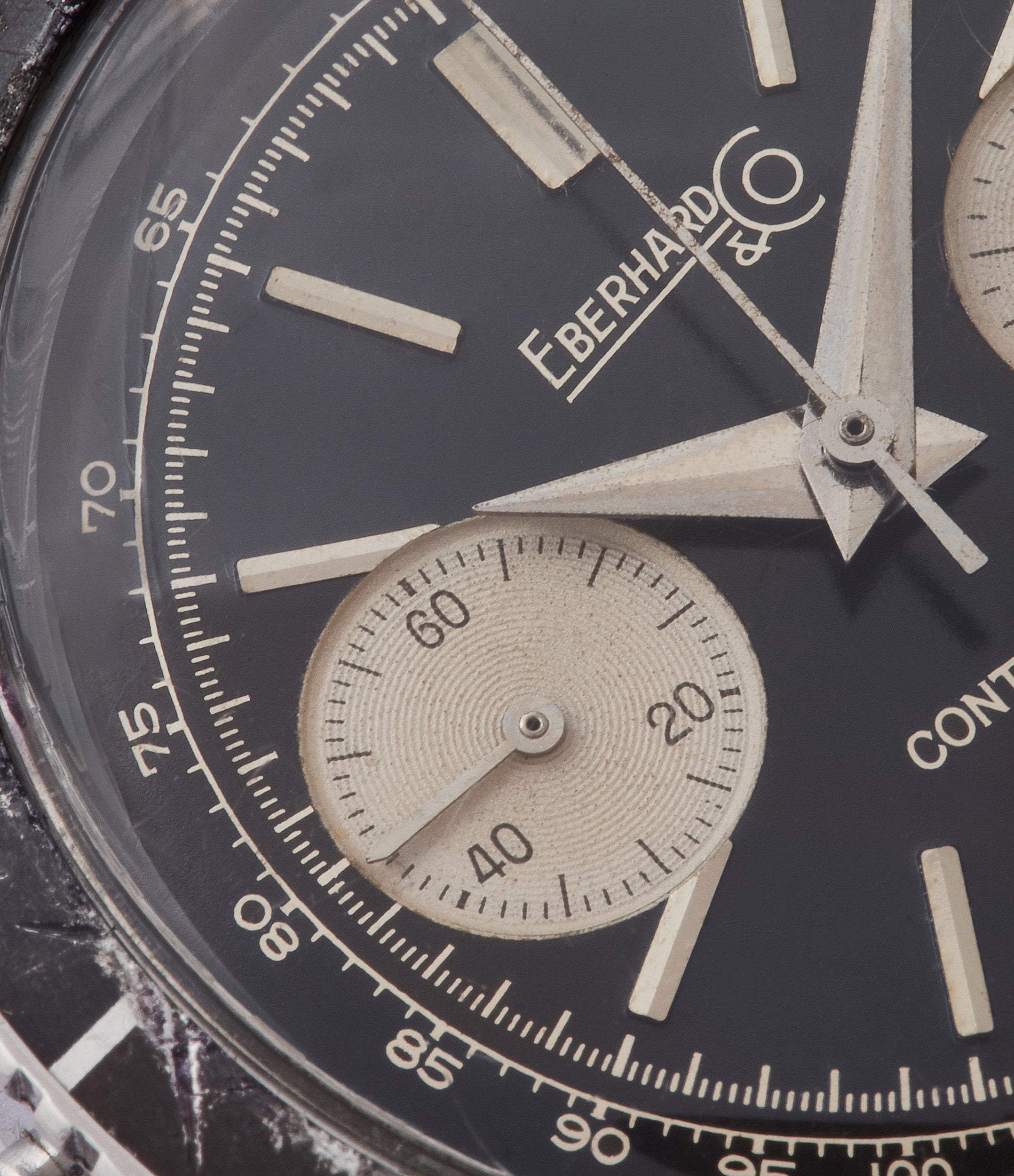 black dial vintage Eberhard Contograf chronograph steel sports watch for sale online at A Collected Man London UK specialist of rare watches