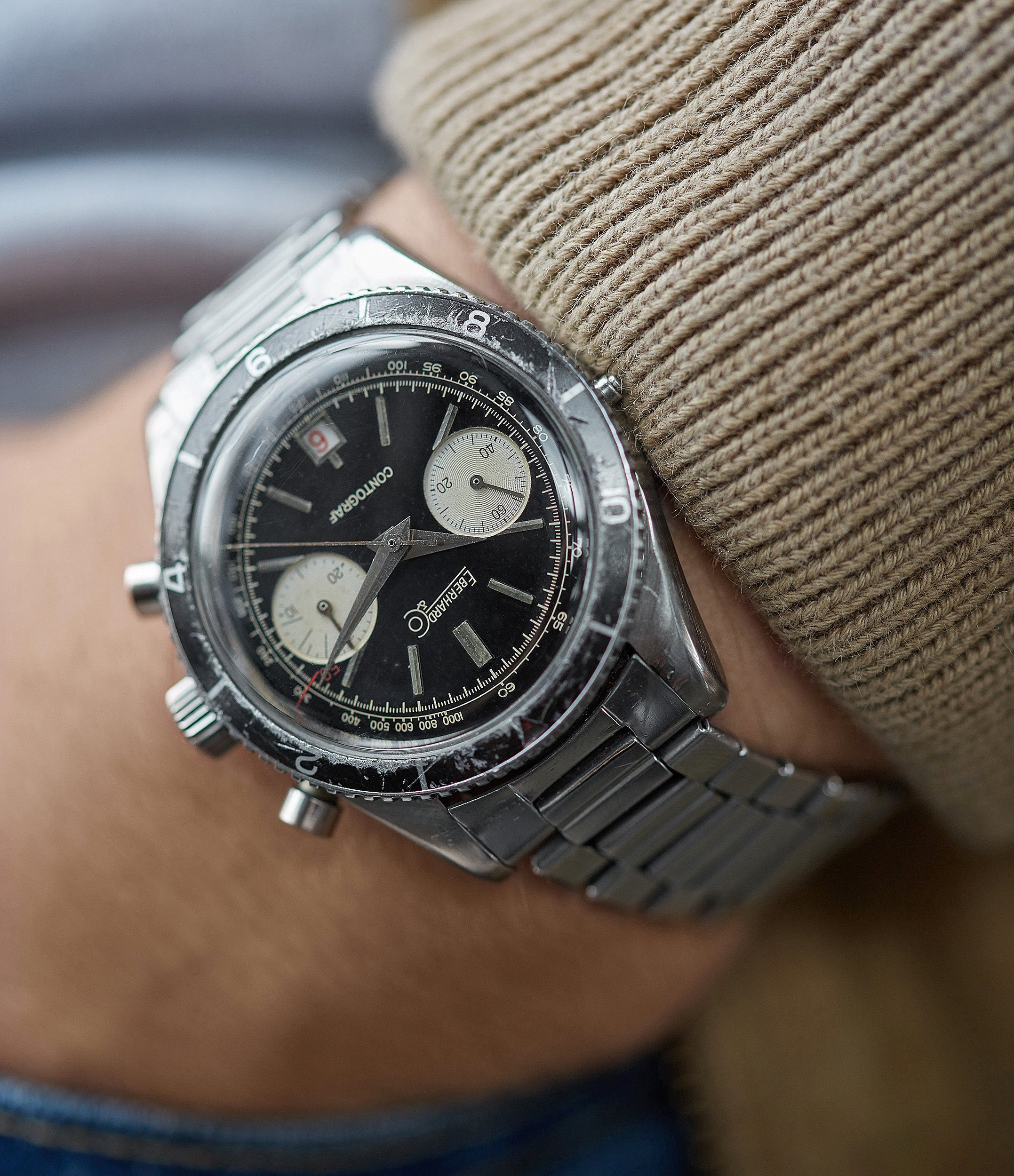 hands-on with vintage Eberhard Contograf chronograph steel sports watch for sale online at A Collected Man London UK specialist of rare watches
