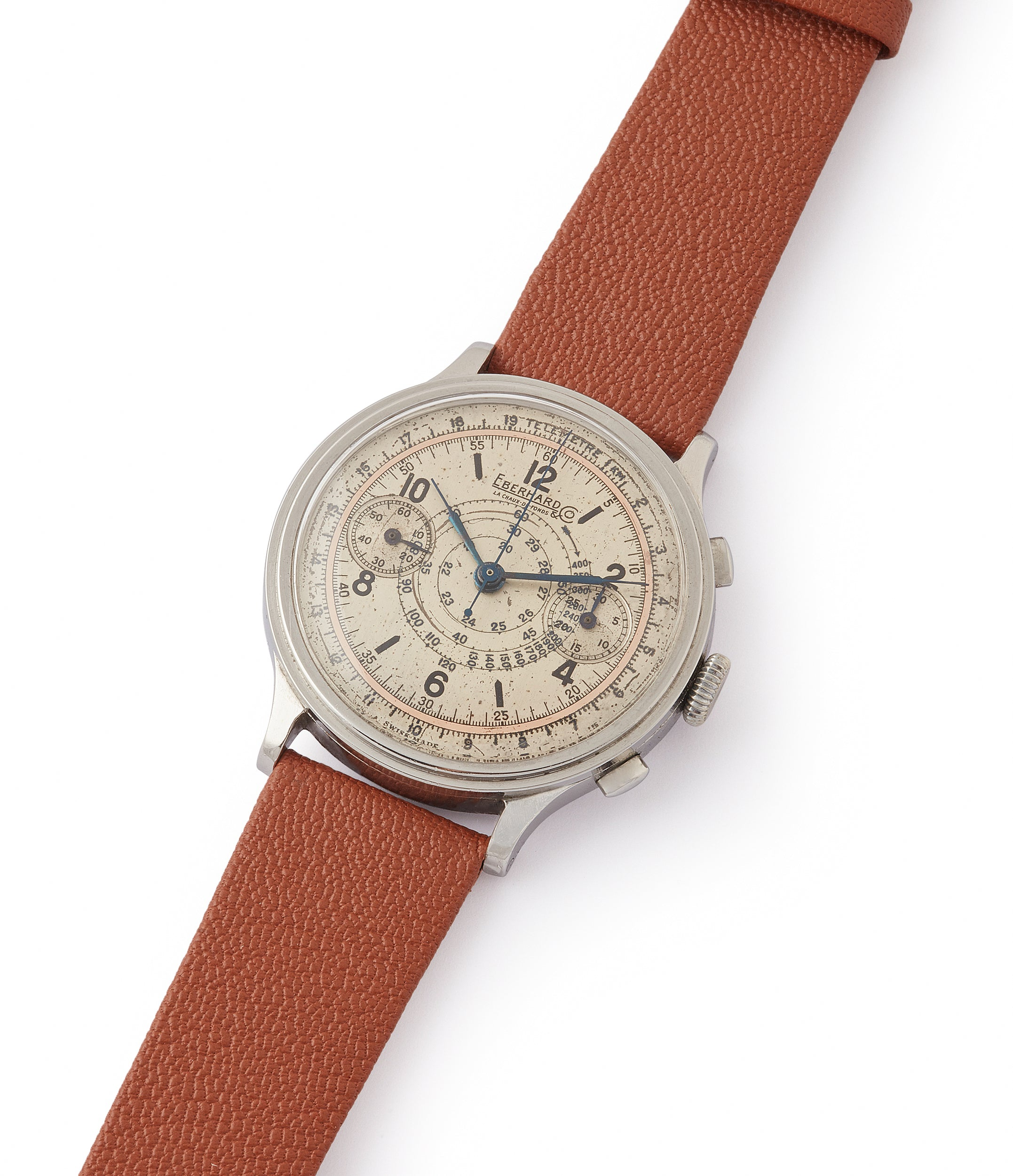 collect vintage Eberhard Pre-Extra Fort Chronograph copper ring dial steel sport watch for sale online at A Collected Man London UK specialist of rare watches