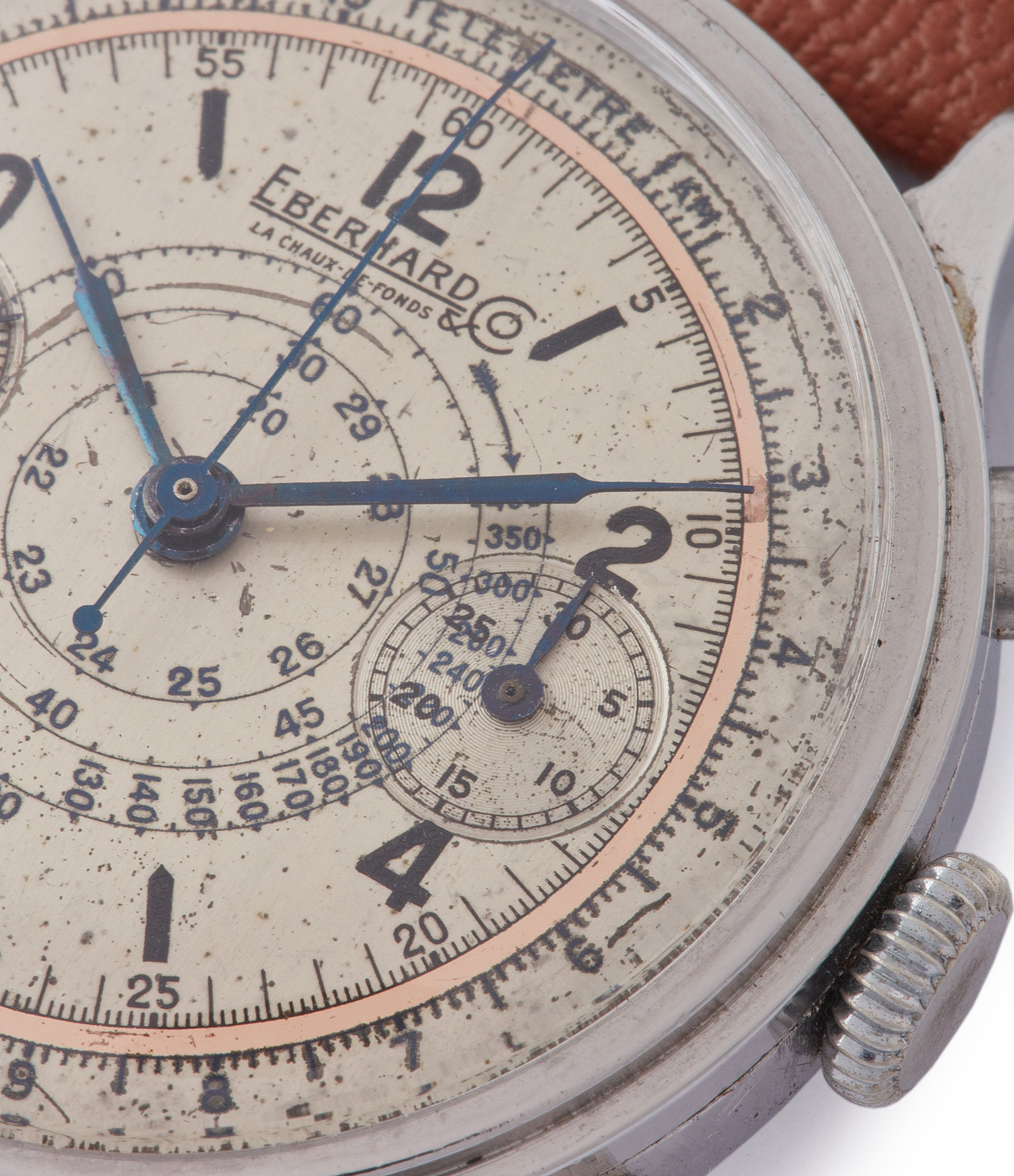 tachymeter snail scale copper ring vintage Eberhard Pre-Extra Fort Chronograph steel sport watch for sale online at A Collected Man London UK specialist of rare watches
