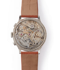 manual-winding Eberhard Pre-Extra Fort Chronograph copper ring dial steel sport watch for sale online at A Collected Man London UK specialist of rare watches
