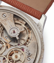 Cal. 16000 column-wheel chronograph Eberhard Pre-Extra Fort Chronograph copper ring dial steel sport watch for sale online at A Collected Man London UK specialist of rare watches