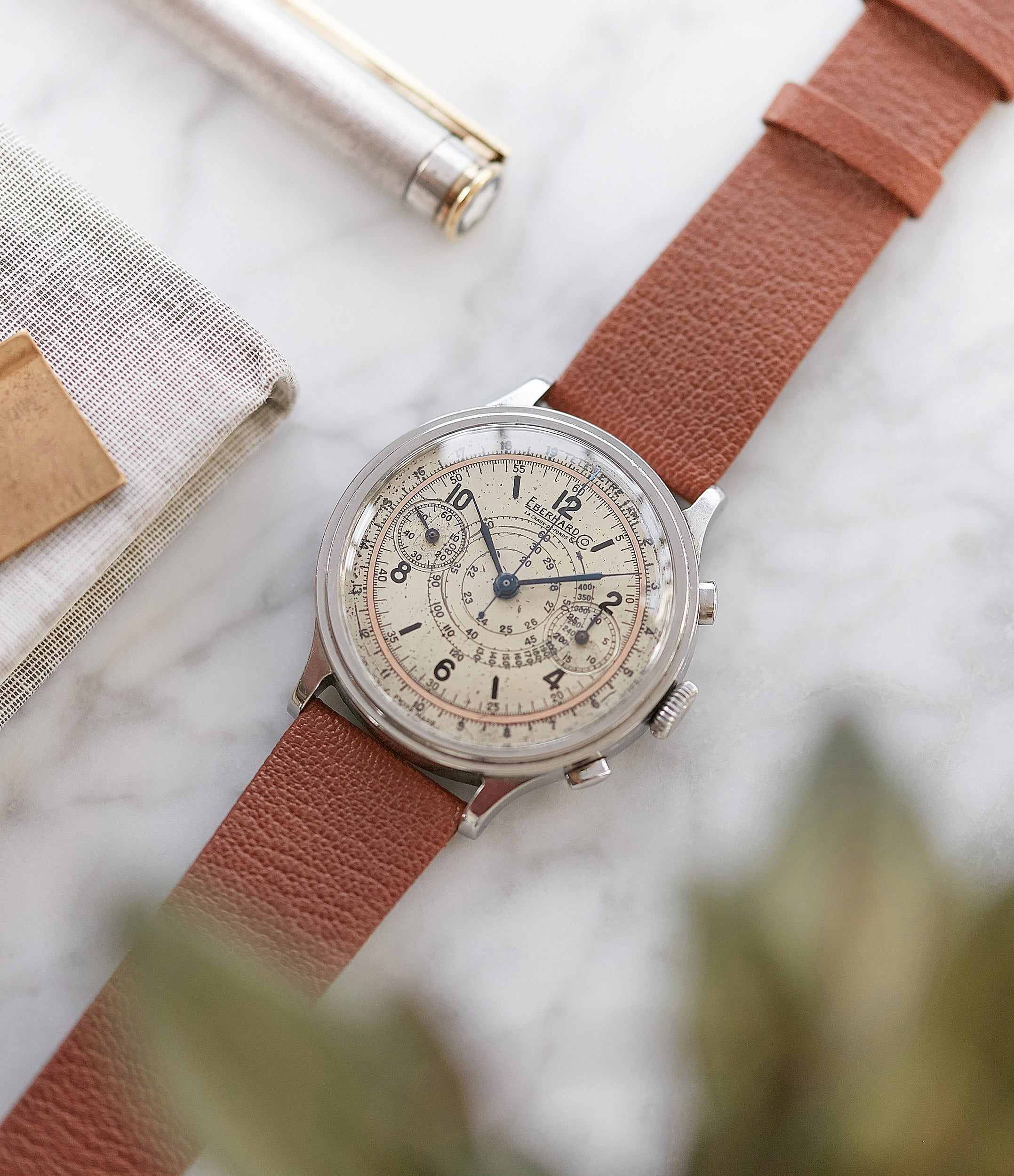 rare Eberhard Pre-Extra Fort Chronograph copper ring dial steel sport watch for sale online at A Collected Man London UK specialist of rare watches