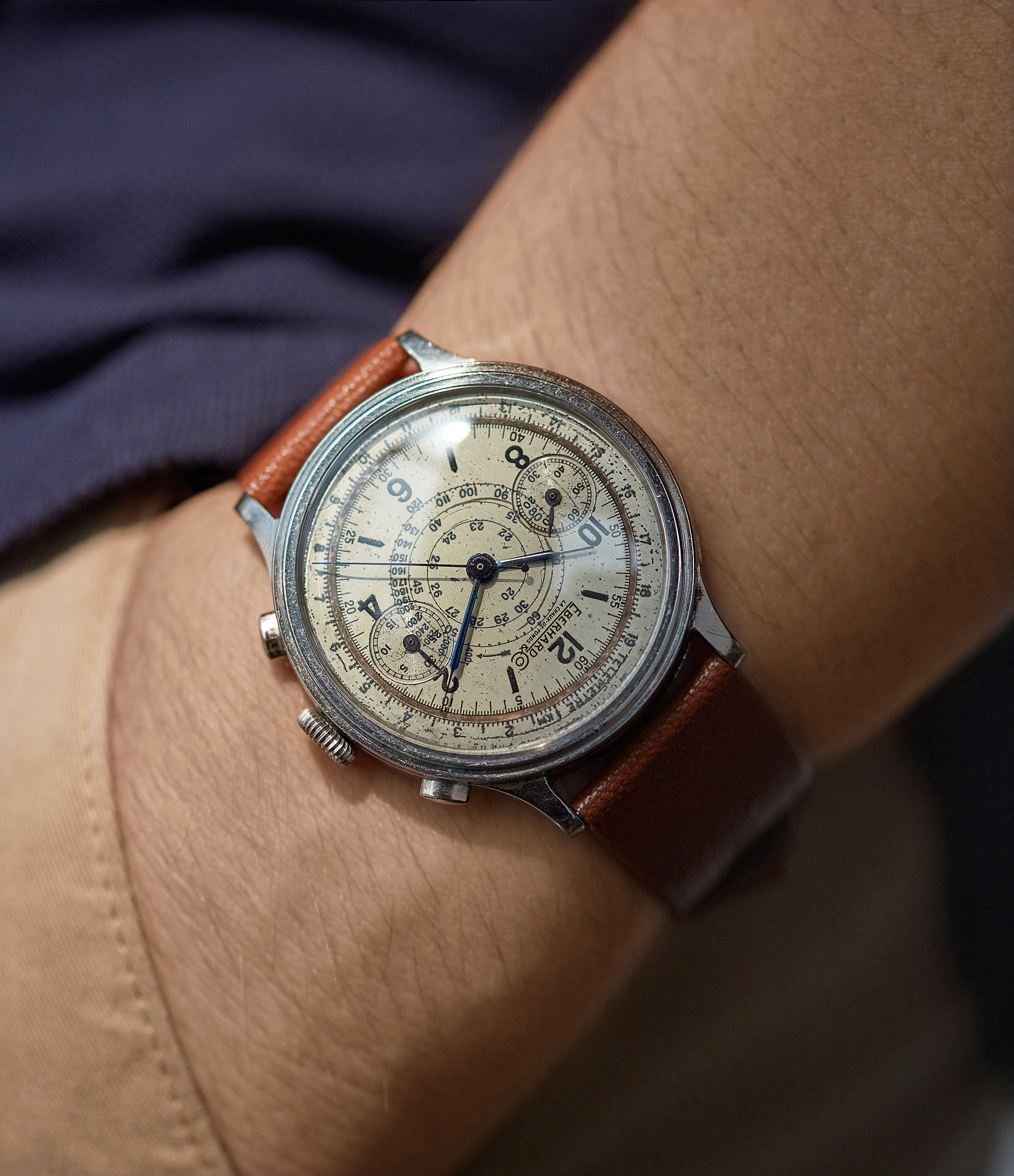 hands on Eberhard Pre-Extra Fort Chronograph copper ring dial steel sport watch for sale online at A Collected Man London UK specialist of rare watches