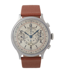 buy vintage Eberhard Pre-Extra Fort Chronograph copper ring dial steel sport watch for sale online at A Collected Man London UK specialist of rare watches