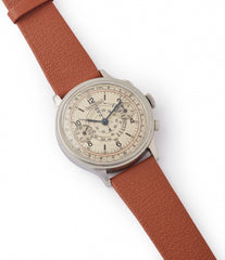 selling vintage Eberhard Pre-Extra Fort Chronograph copper ring dial steel sport watch for sale online at A Collected Man London UK specialist of rare watches