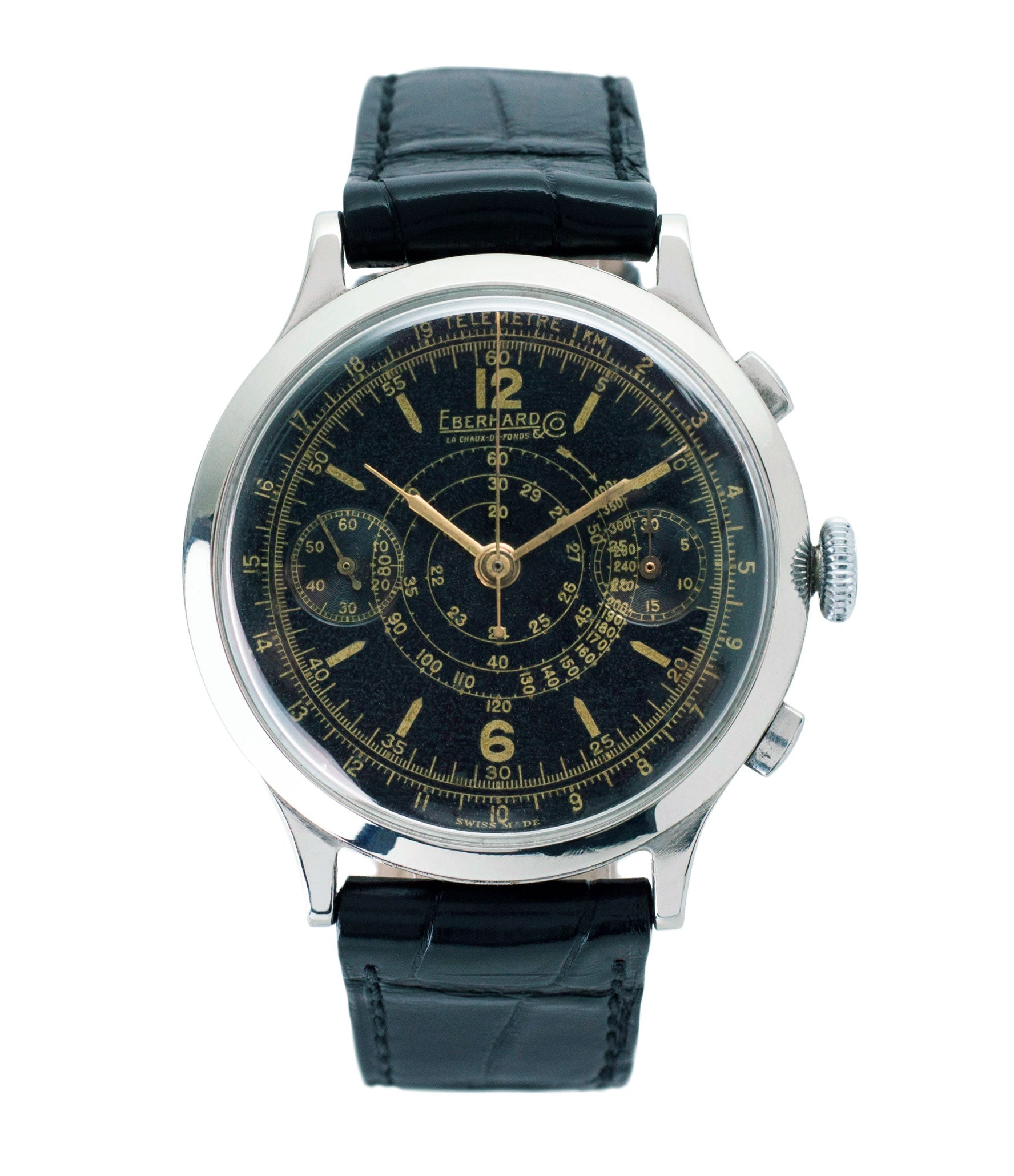 buy Eberhard pre Extra-Fort Chronograph steel black dial vintage watch for sale online at A Collected Man London UK vintage rare watch specialist