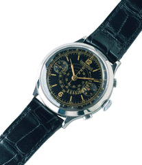 buying vintage Eberhard pre Extra-Fort Chronograph steel black dial watch for sale online at A Collected Man London UK vintage rare watch specialist