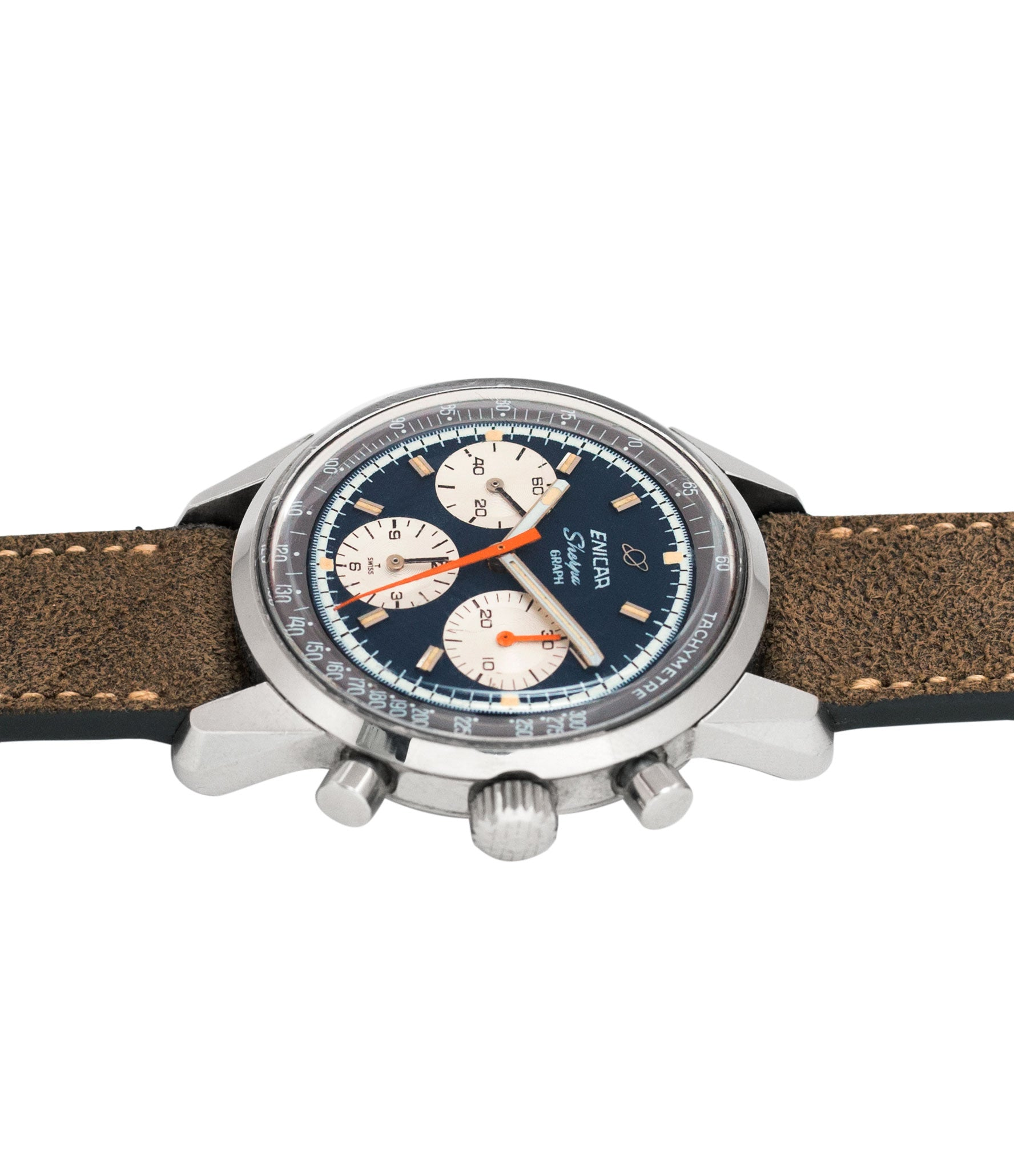 vintage Jim Clark Mark IV Enicar Sherpa Graph 300 Ref. 072-02-01 steel chronograph sport racing watch for sale online at A Collected Man London UK vintage watch specialist