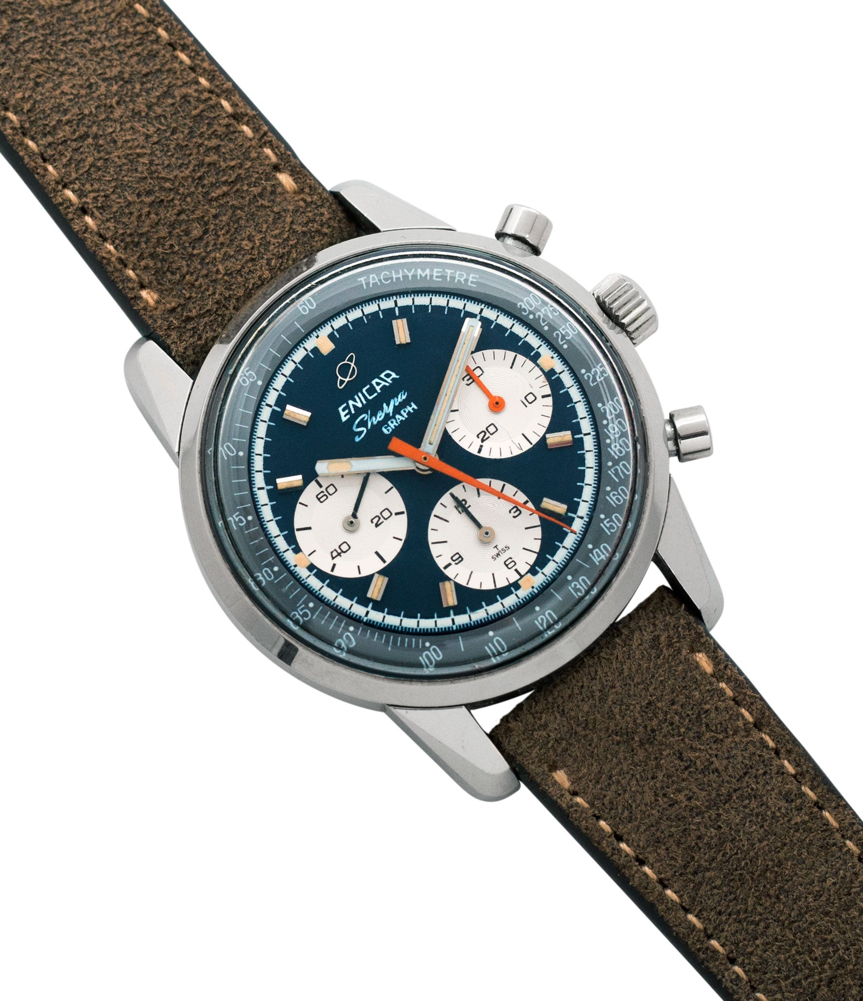shop Enicar Sherpa Graph 300 Ref. 072-02-01 vintage steel chronograph sport racing watch for sale online at A Collected Man London UK vintage watch specialist