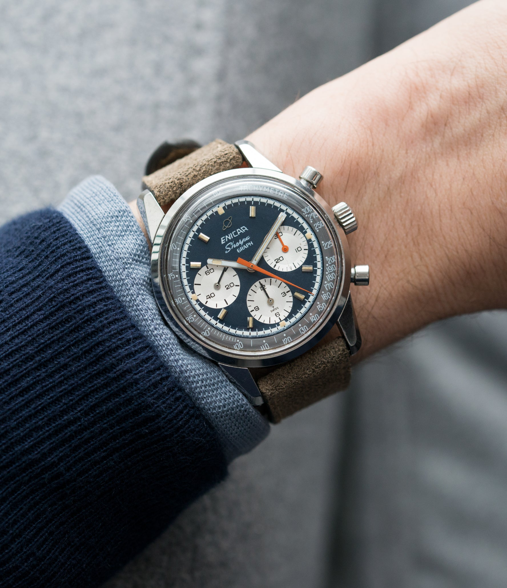 on the wrist Enicar Sherpa Graph 300 Ref. 072-02-01 vintage steel chronograph sport racing watch for sale online at A Collected Man London UK vintage watch specialist
