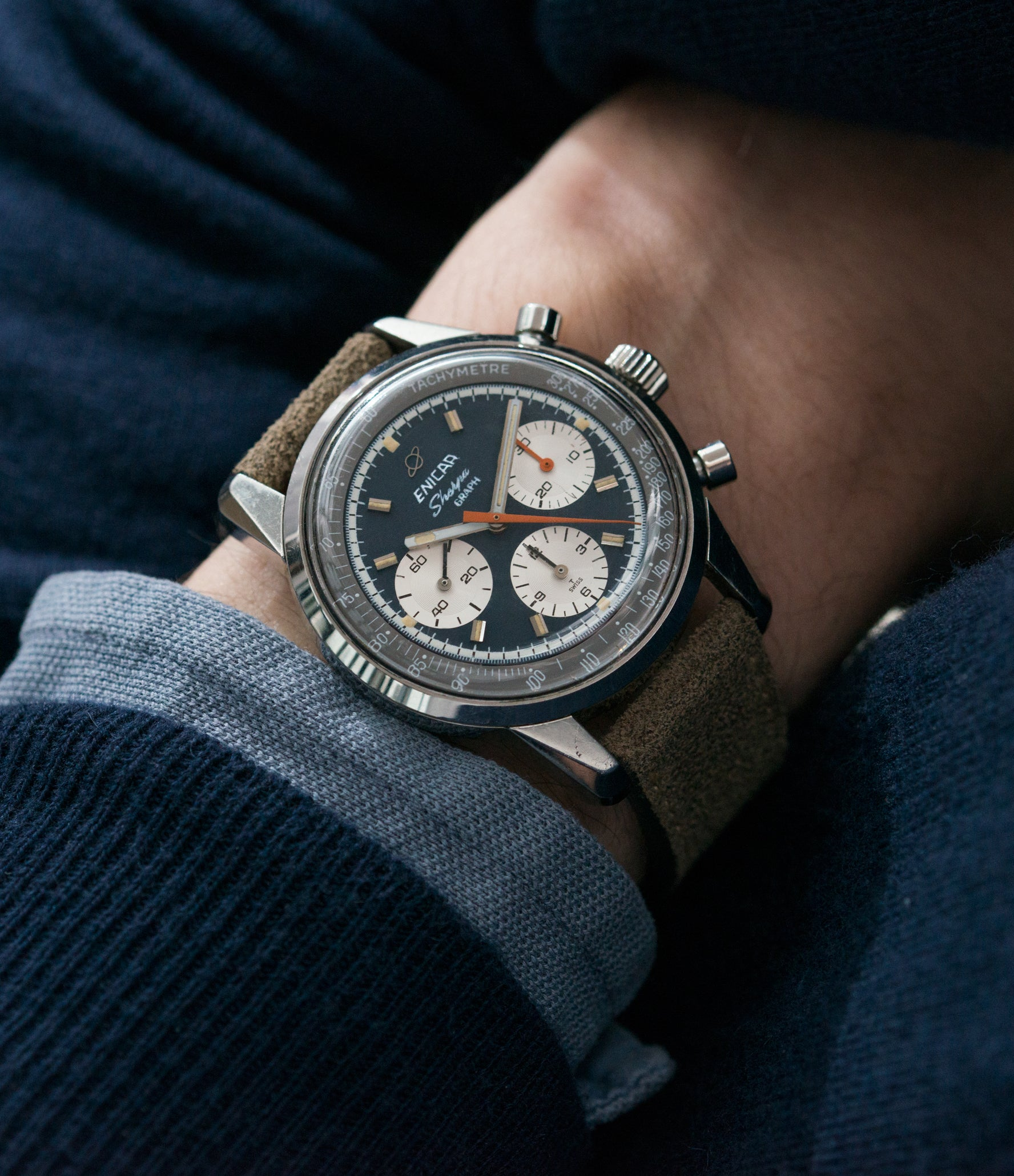 classic vintage sport watch Jim Clark Mark IV Enicar Sherpa Graph 300 Ref. 072-02-01 steel chronograph sport racing watch for sale online at A Collected Man London UK vintage watch specialist