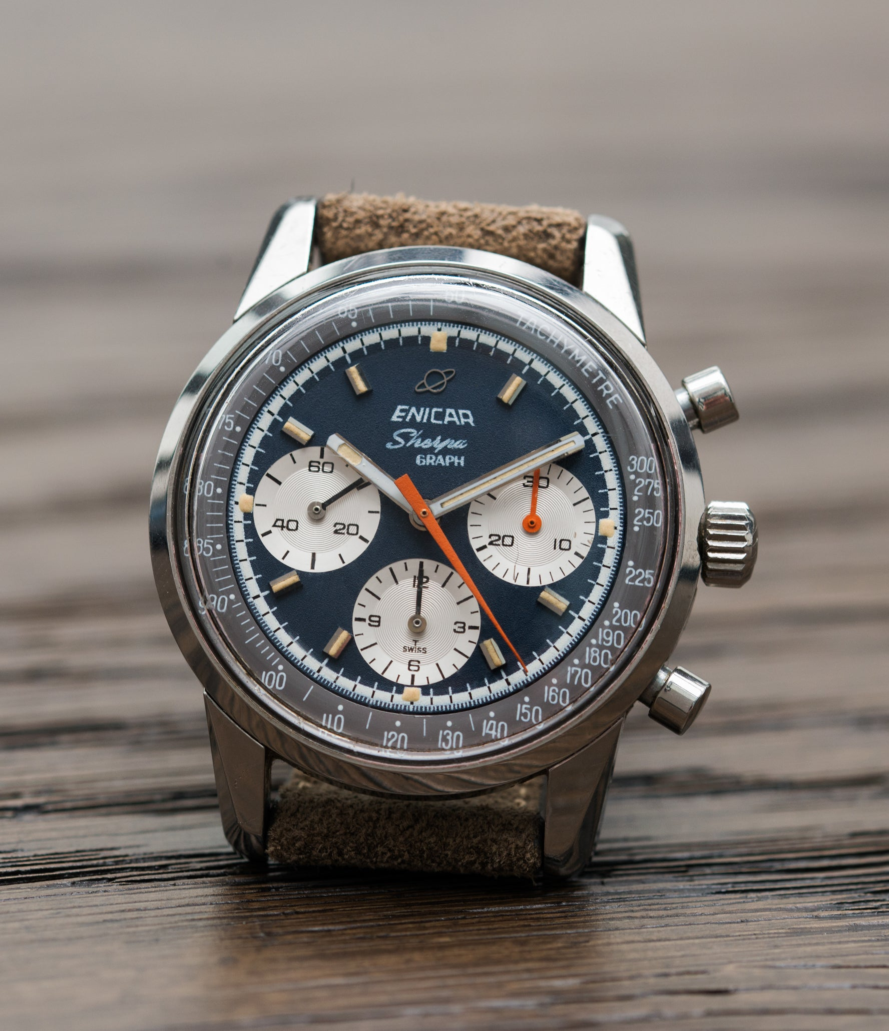 selling Enicar Sherpa Graph 300 Ref. 072-02-01 vintage steel chronograph sport racing watch for sale online at A Collected Man London UK vintage watch specialist