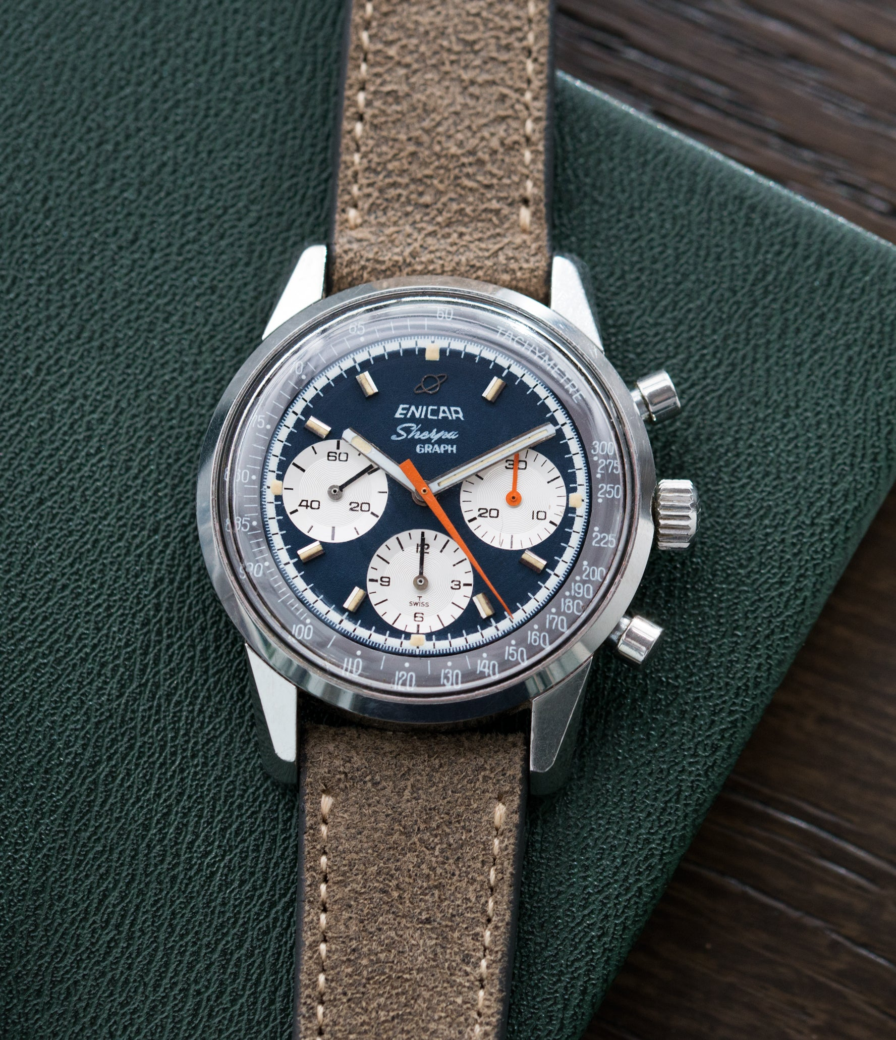 Jim Clark classic vintage sport watch Enicar Sherpa Graph 300 Ref. 072-02-01 steel chronograph sport racing watch for sale online at A Collected Man London UK vintage watch specialist